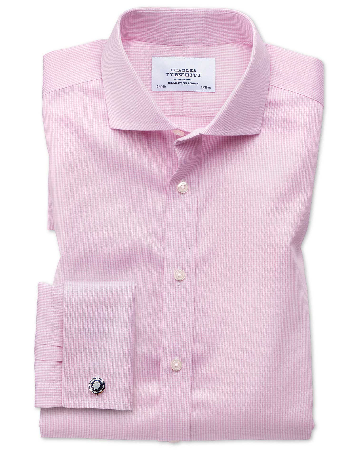 Slim Fit Cutaway Non-Iron Puppytooth Light Pink Cotton Formal Shirt Single Cuff Size 15/33 by Charle