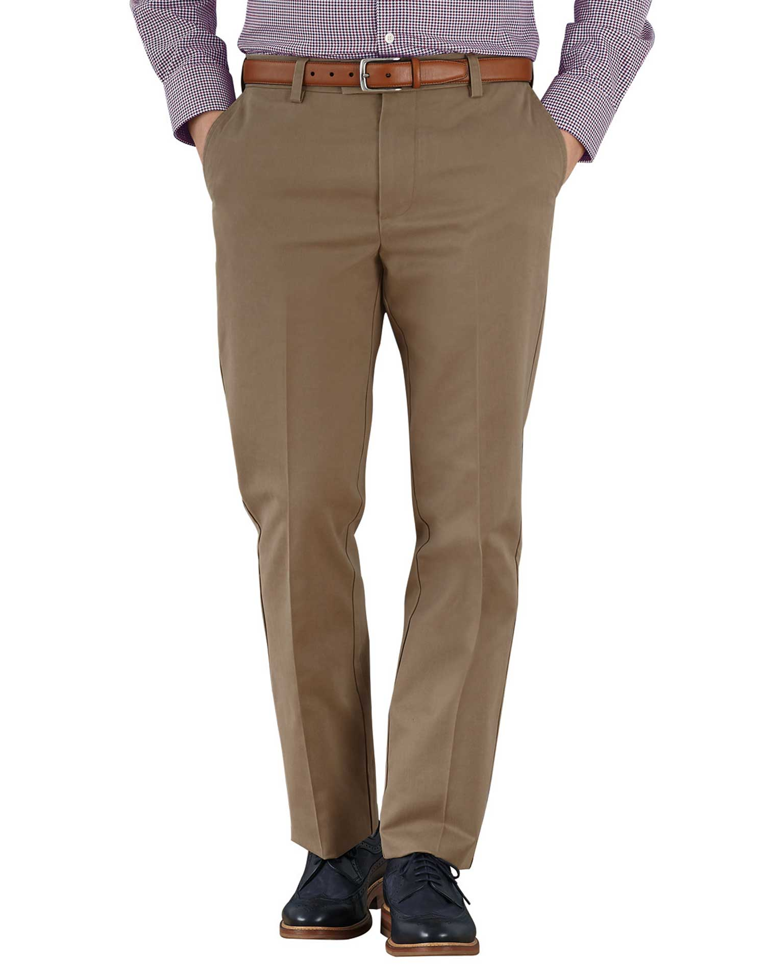 Tan Slim Fit Flat Front Non-Iron Cotton Chino Trousers Size W34 L34 by Charles Tyrwhitt