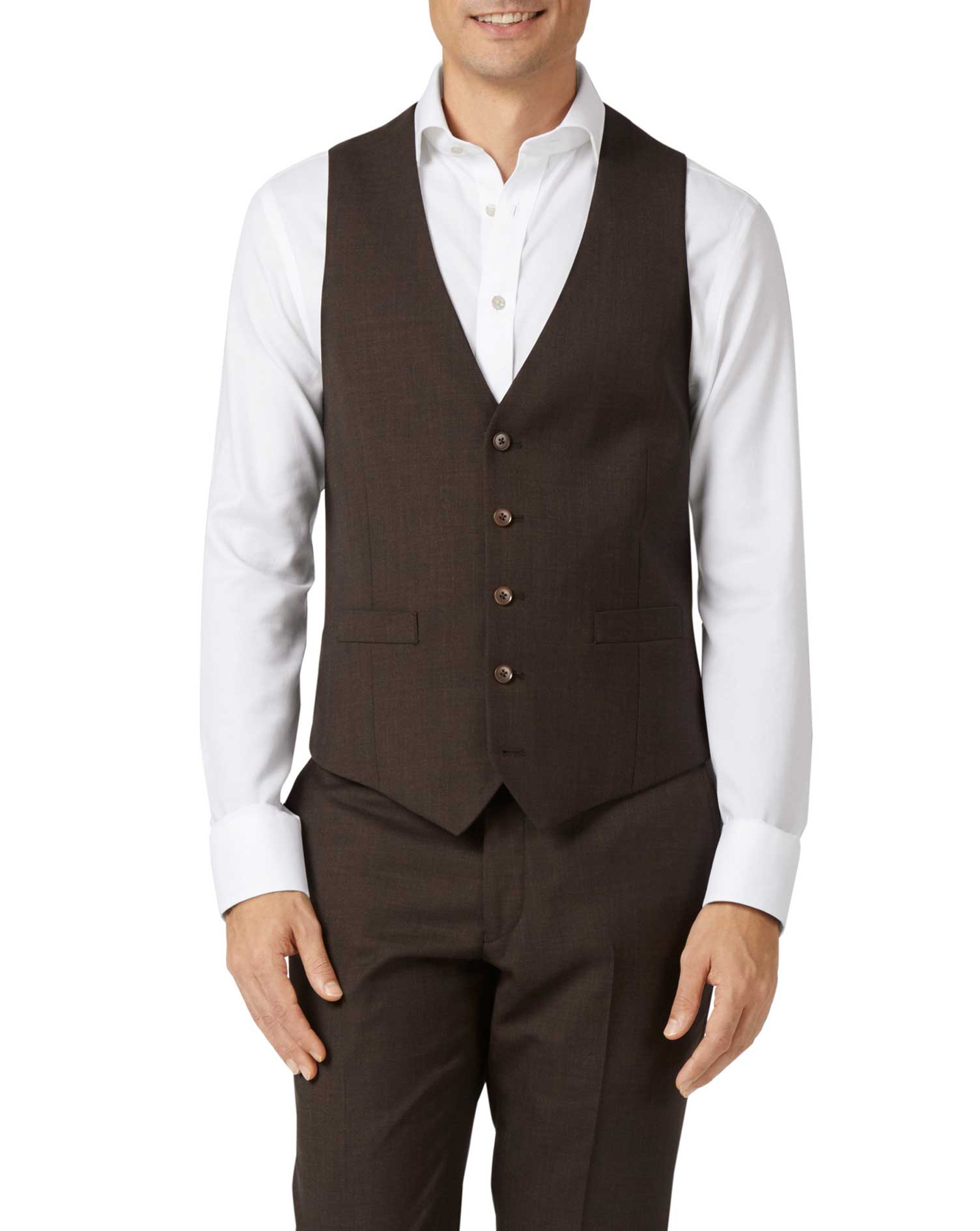 Chocolate Adjustable Fit Sharkskin Travel Suit Wool Waistcoat Size w36 by Charles Tyrwhitt