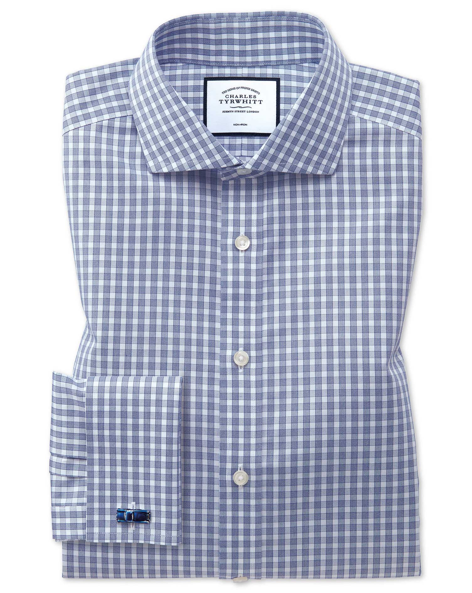 Extra Slim Fit Non-Iron Twill Gingham Blue Cotton Formal Shirt Double Cuff Size 15.5/33 by Charles T