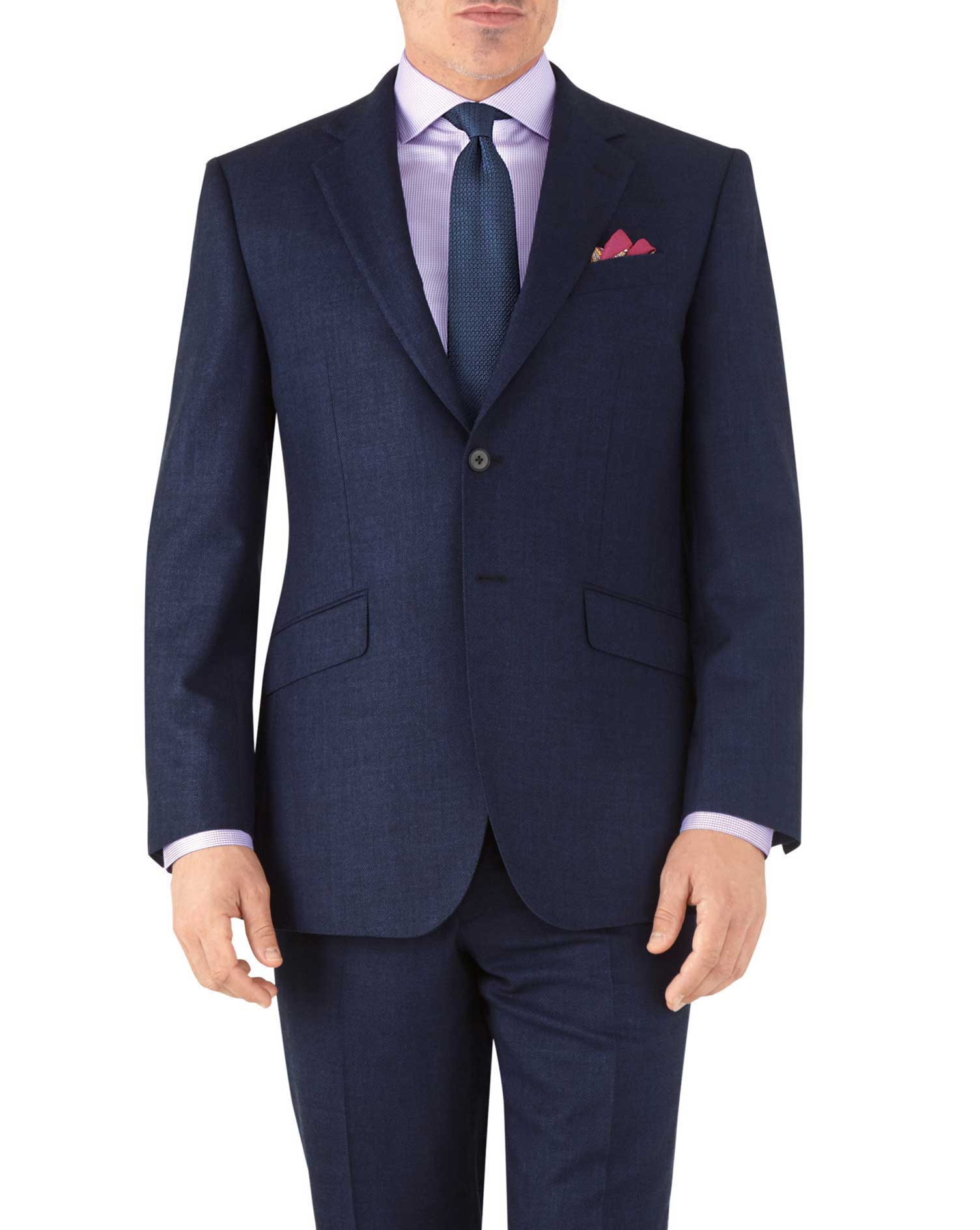 Royal blue classic fit flannel business suit jacket