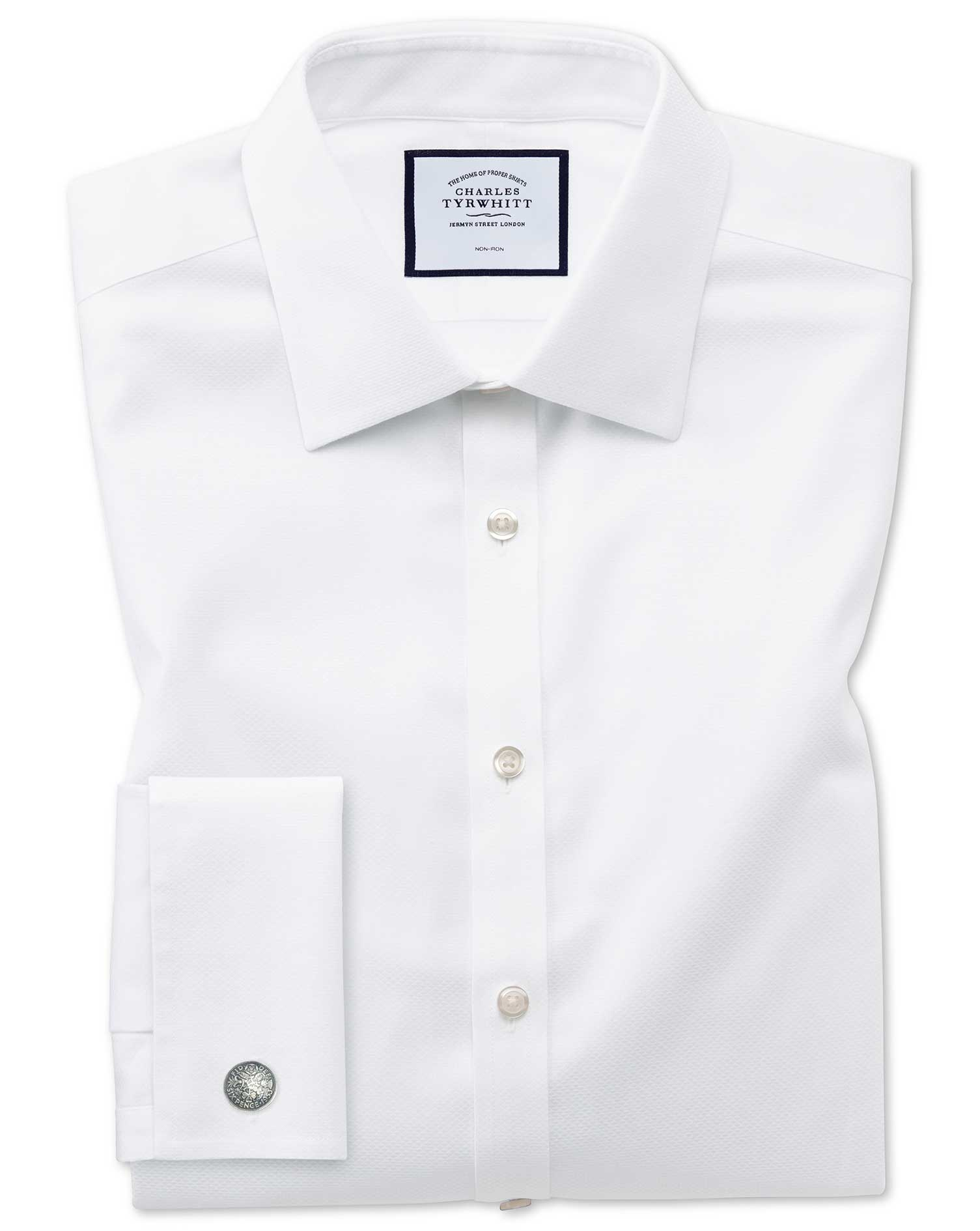 Super Slim Fit Non-Iron White Triangle Weave Cotton Formal Shirt Single Cuff Size 15.5/35 by Charles