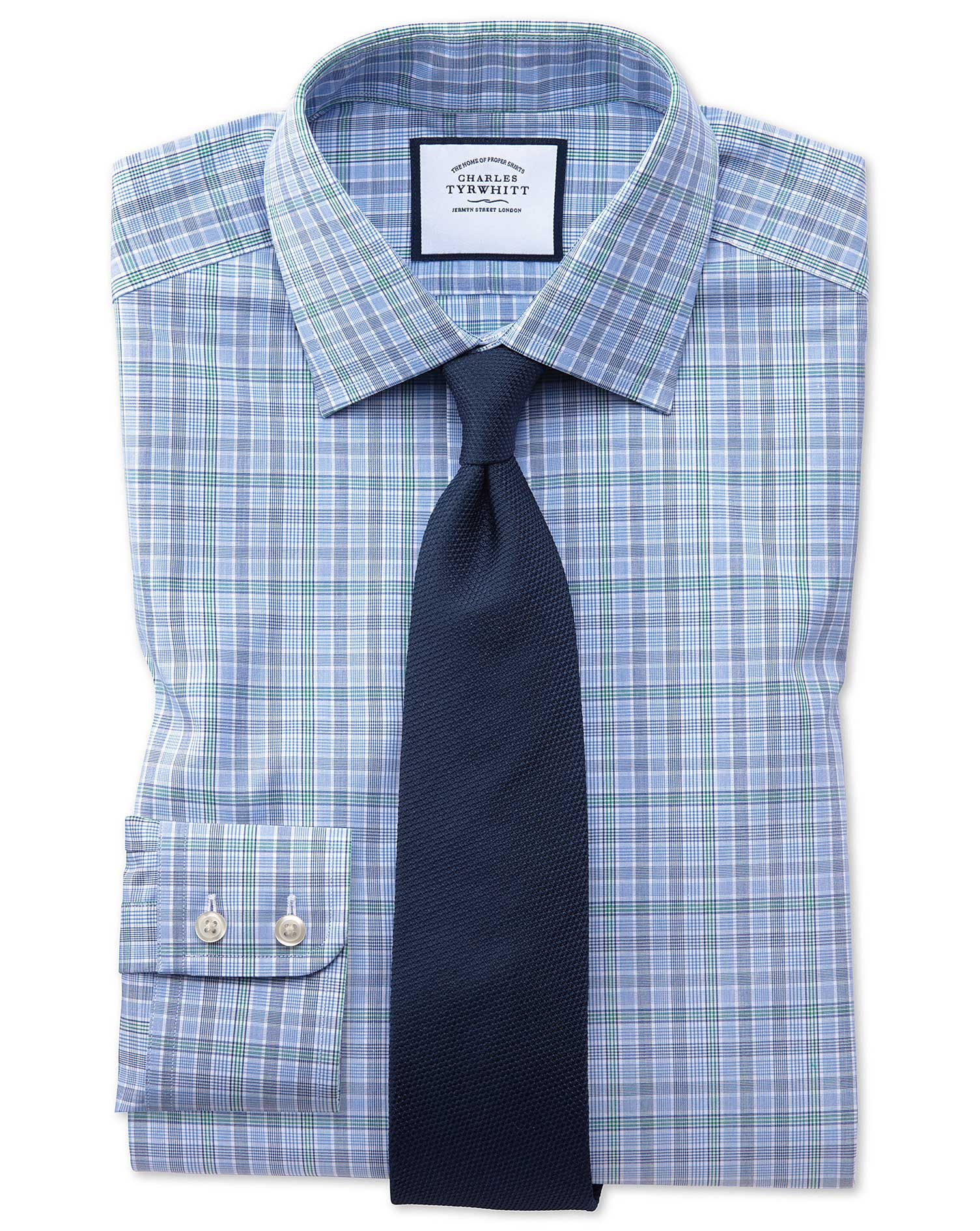 Classic Fit Blue and Green Prince Of Wales Check Cotton Formal Shirt Double Cuff Size 16/34 by Charl
