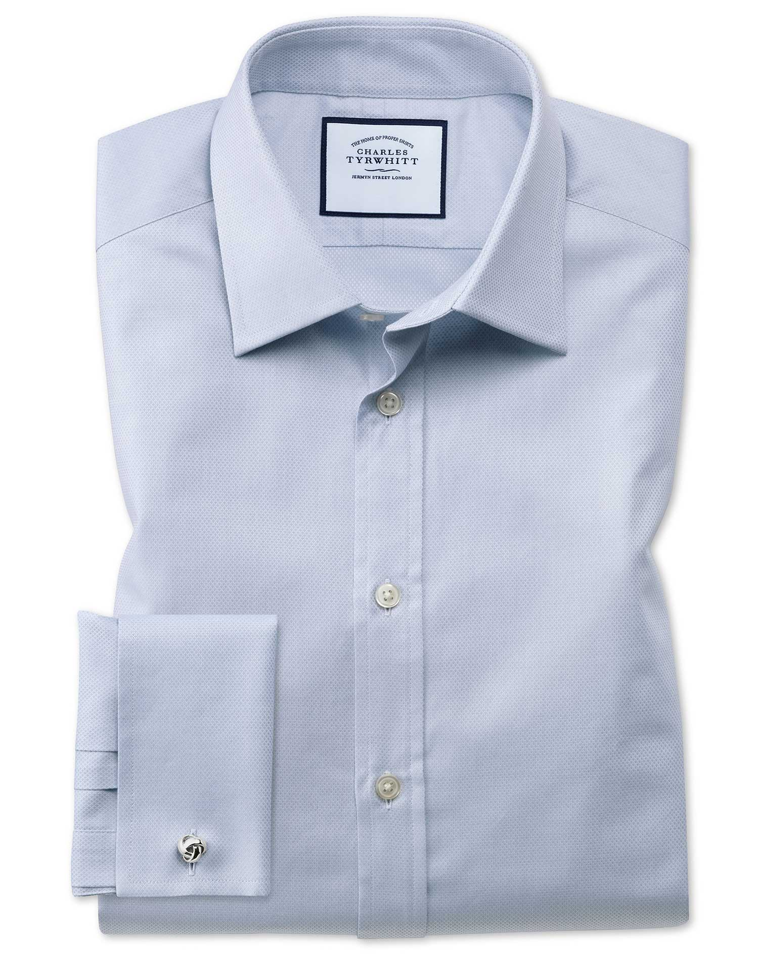 Slim Fit Egyptian Cotton Trellis Weave Grey Formal Shirt Single Cuff Size 16/34 by Charles Tyrwhitt