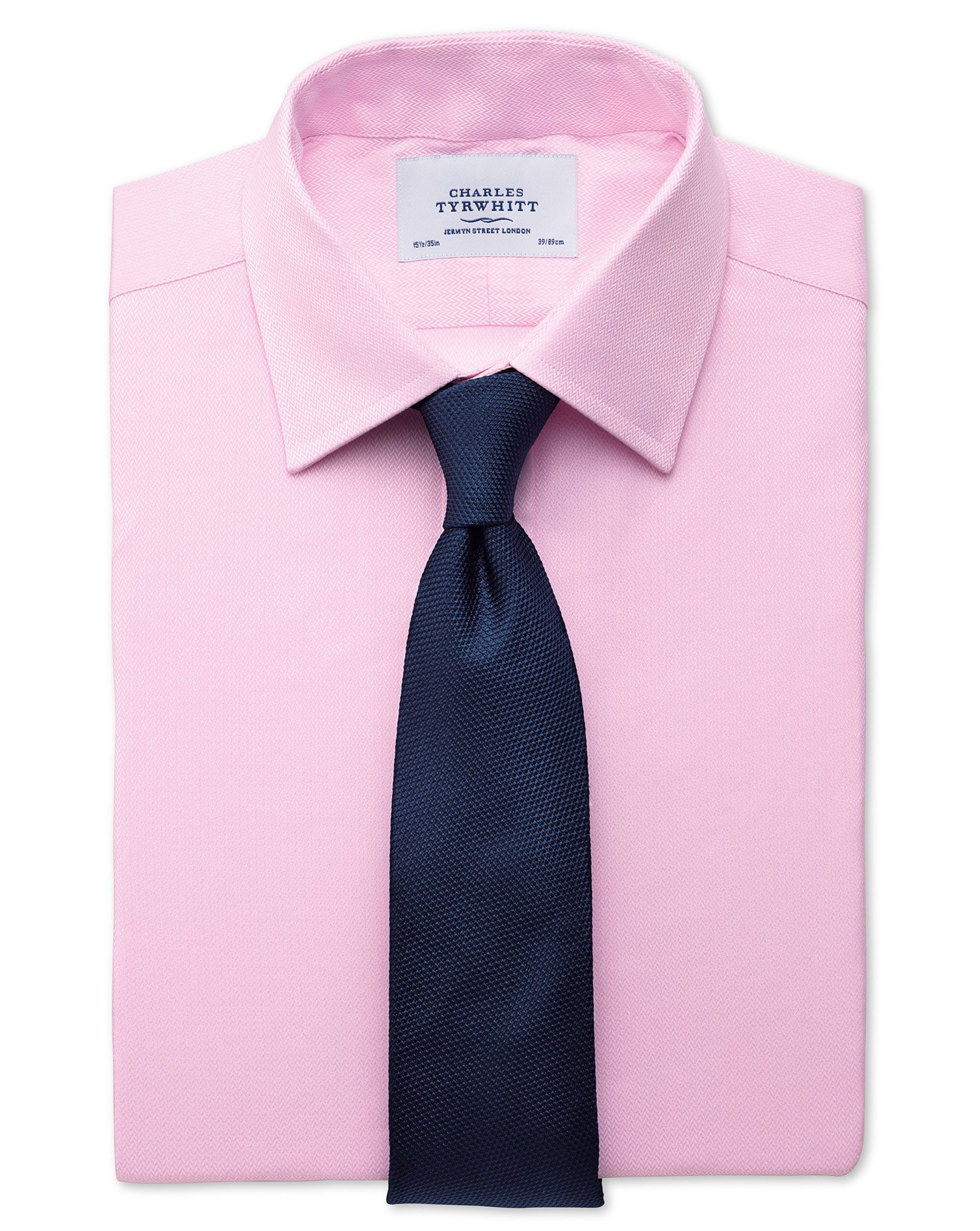 Slim Fit Small Herringbone Pink Cotton Formal Shirt Single Cuff Size 16.5/35 by Charles Tyrwhitt