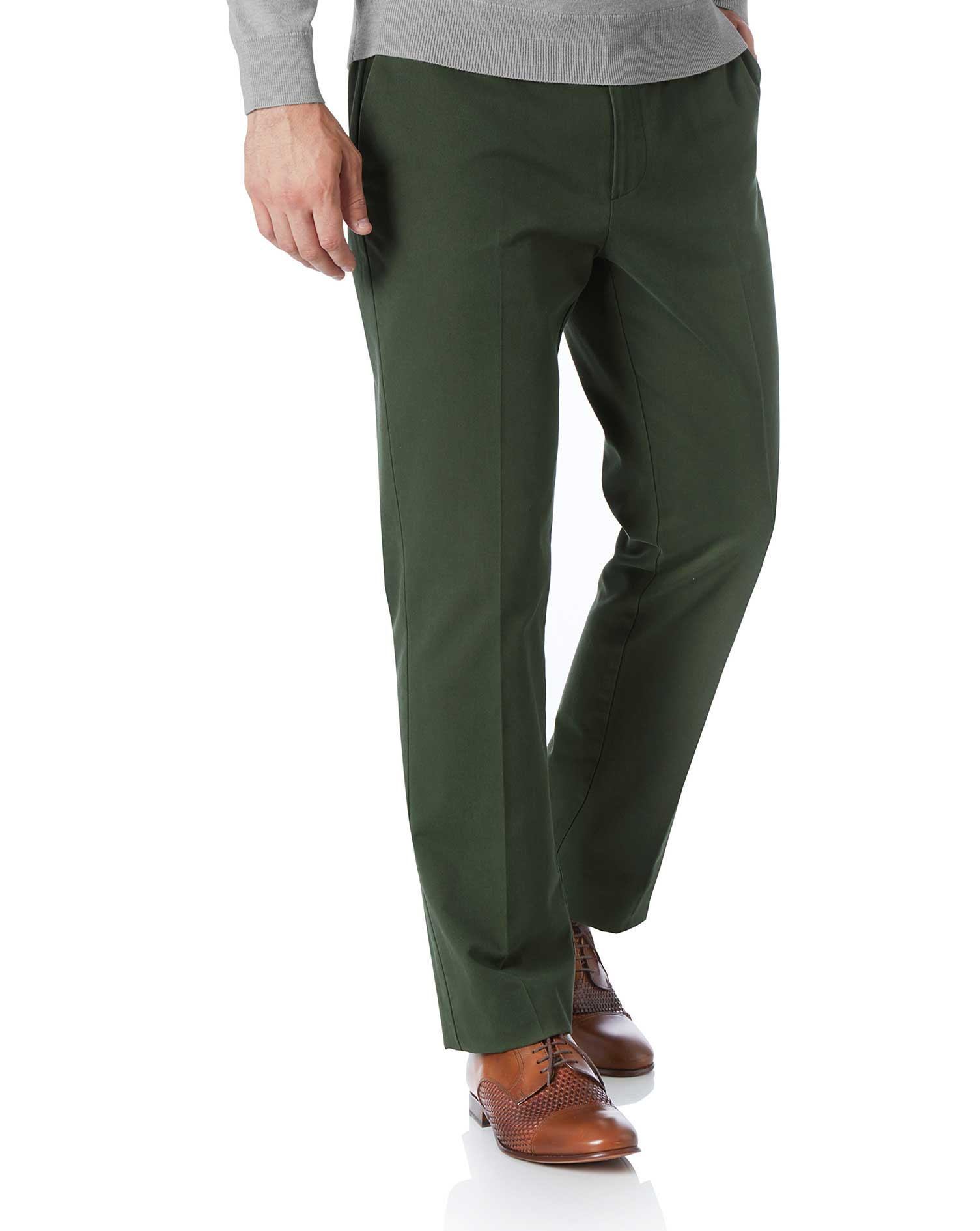 Dark Green Slim Fit Flat Front Non-Iron Cotton Chino Trousers Size W34 L29 by Charles Tyrwhitt