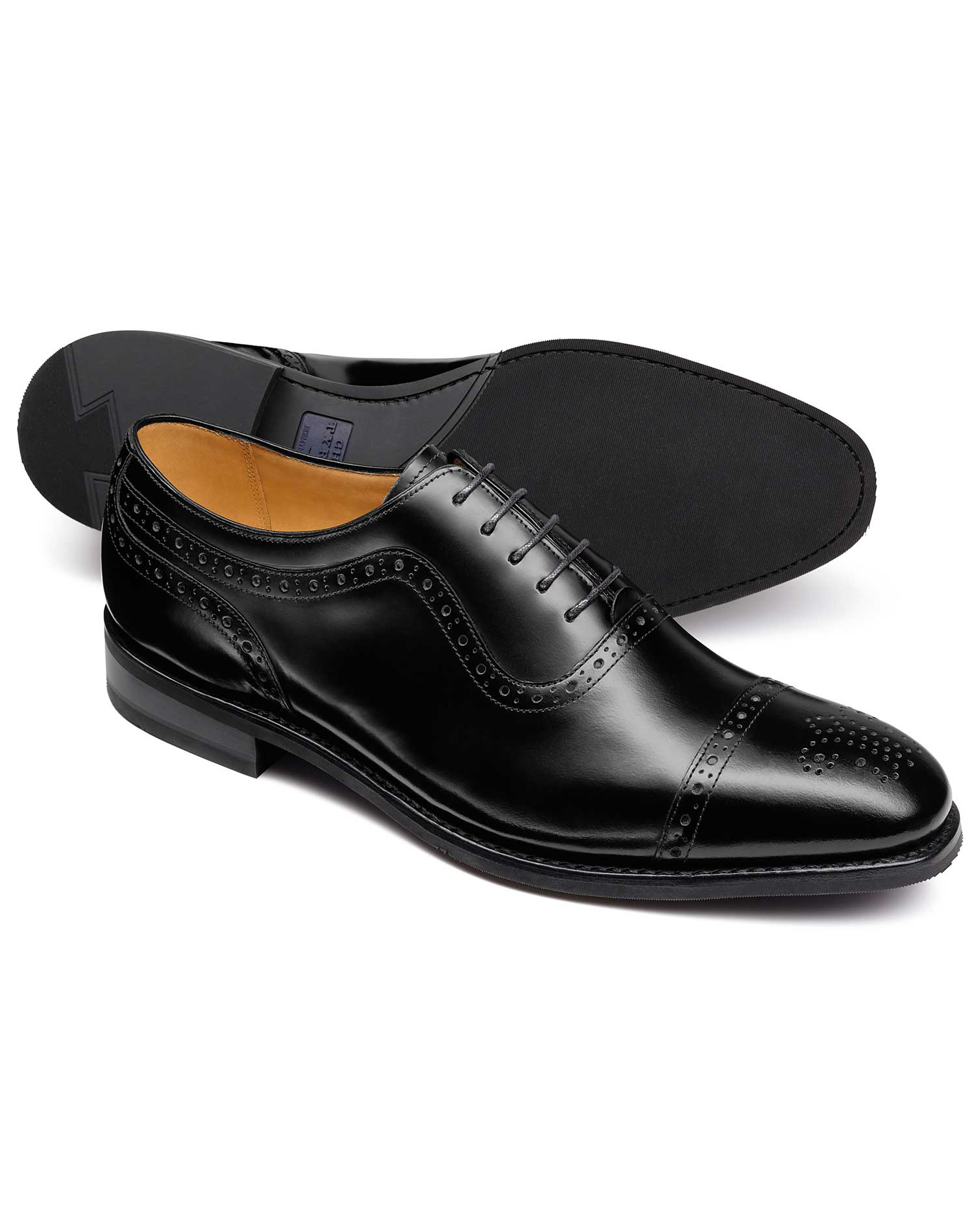 Black Goodyear Welted Oxford Brogue Rubber Sole Shoe Size 8.5 R by Charles Tyrwhitt