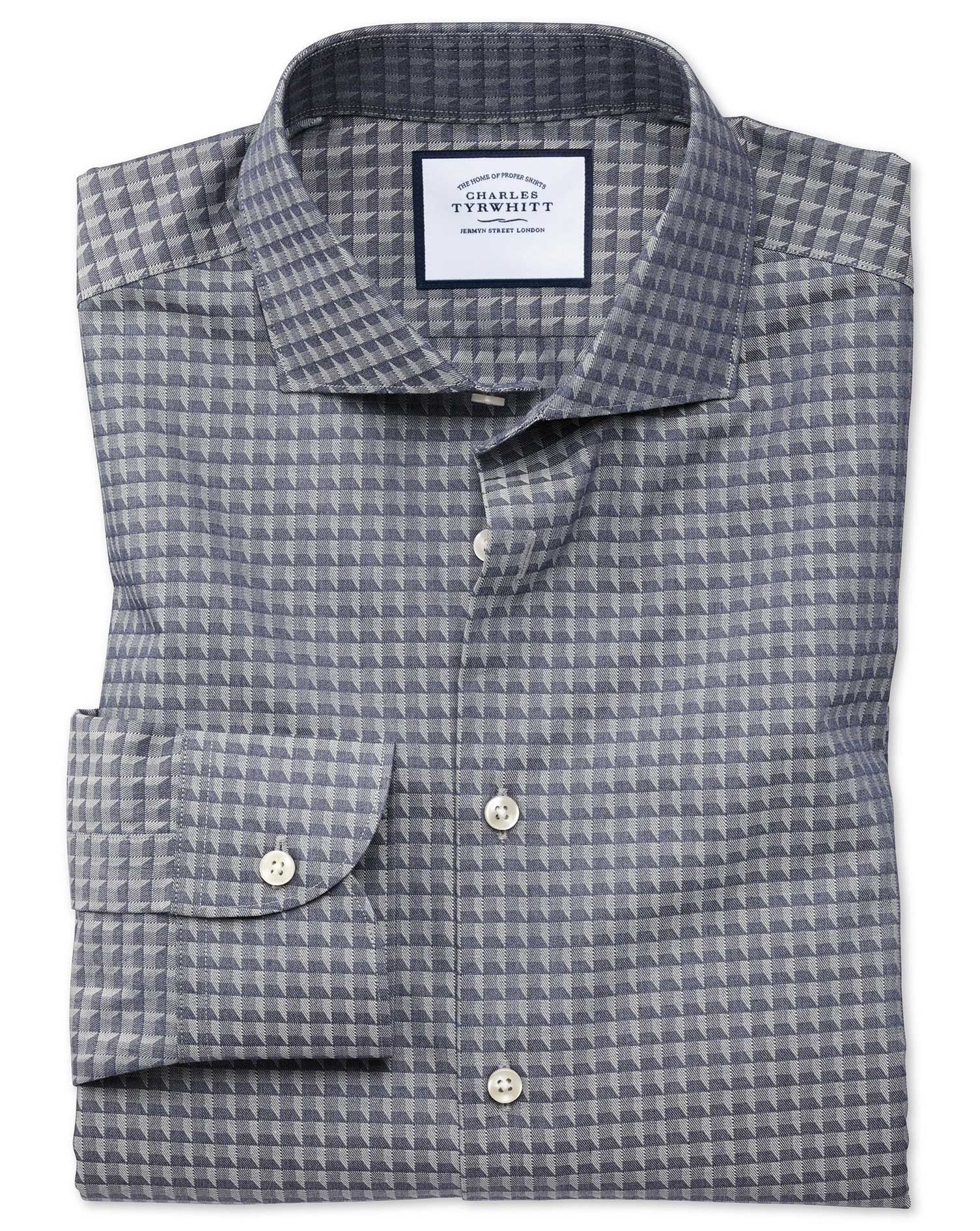 Slim Fit Business Casual Navy Geometric Cotton Formal Shirt Single Cuff Size 17/35 by Charles Tyrwhi