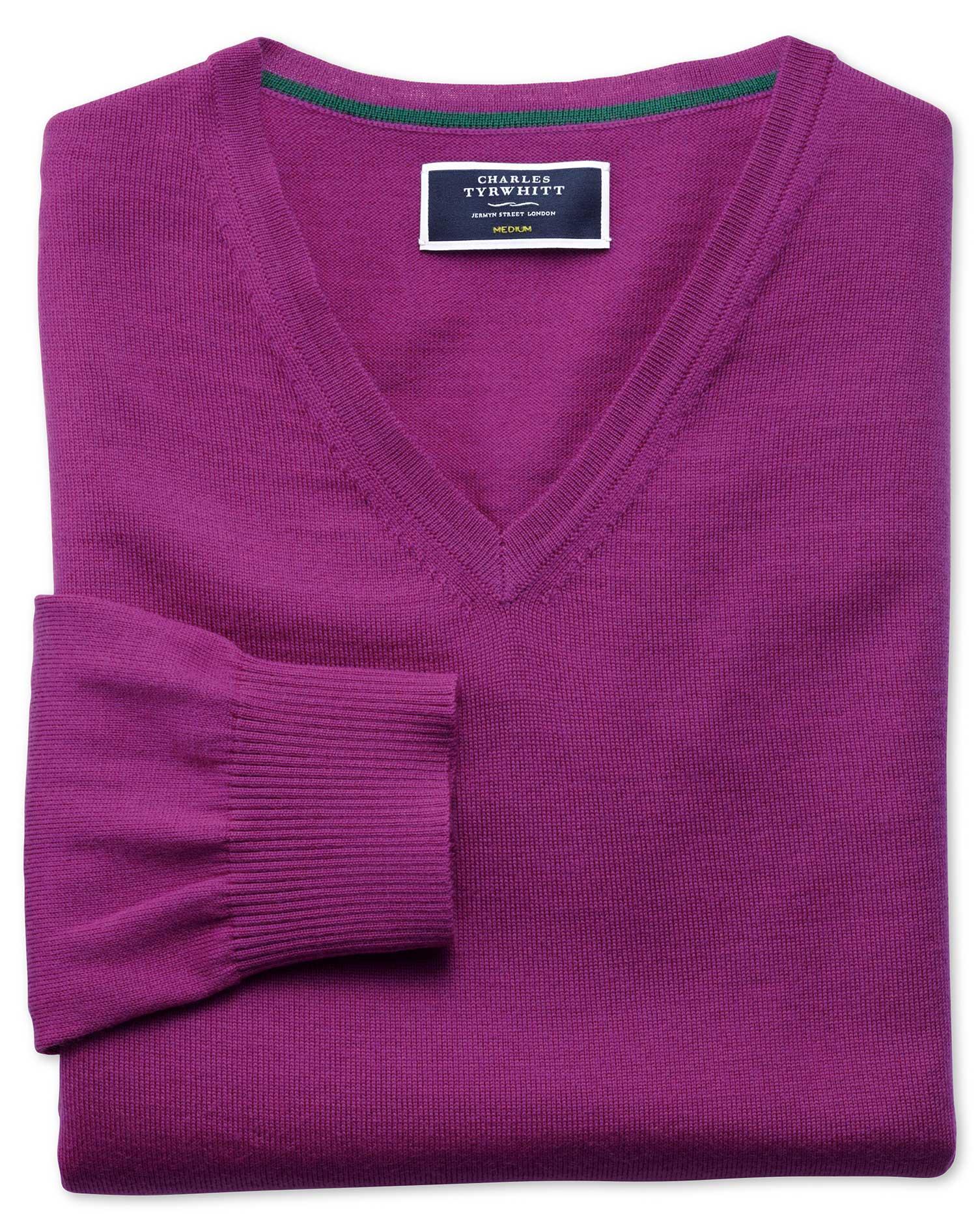 Berry Merino Wool V-Neck Jumper Size Small by Charles Tyrwhitt