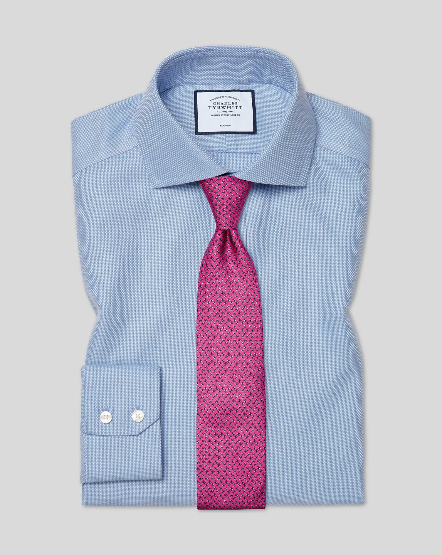Cotton Slim Fit Cutaway Non-Iron Buckingham Weave Blue Shirt