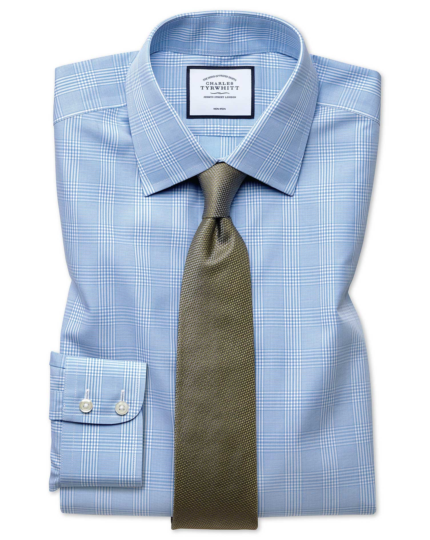 Classic Fit Non-Iron Prince Of Wales Sky Blue Cotton Formal Shirt Double Cuff Size 15.5/34 by Charle