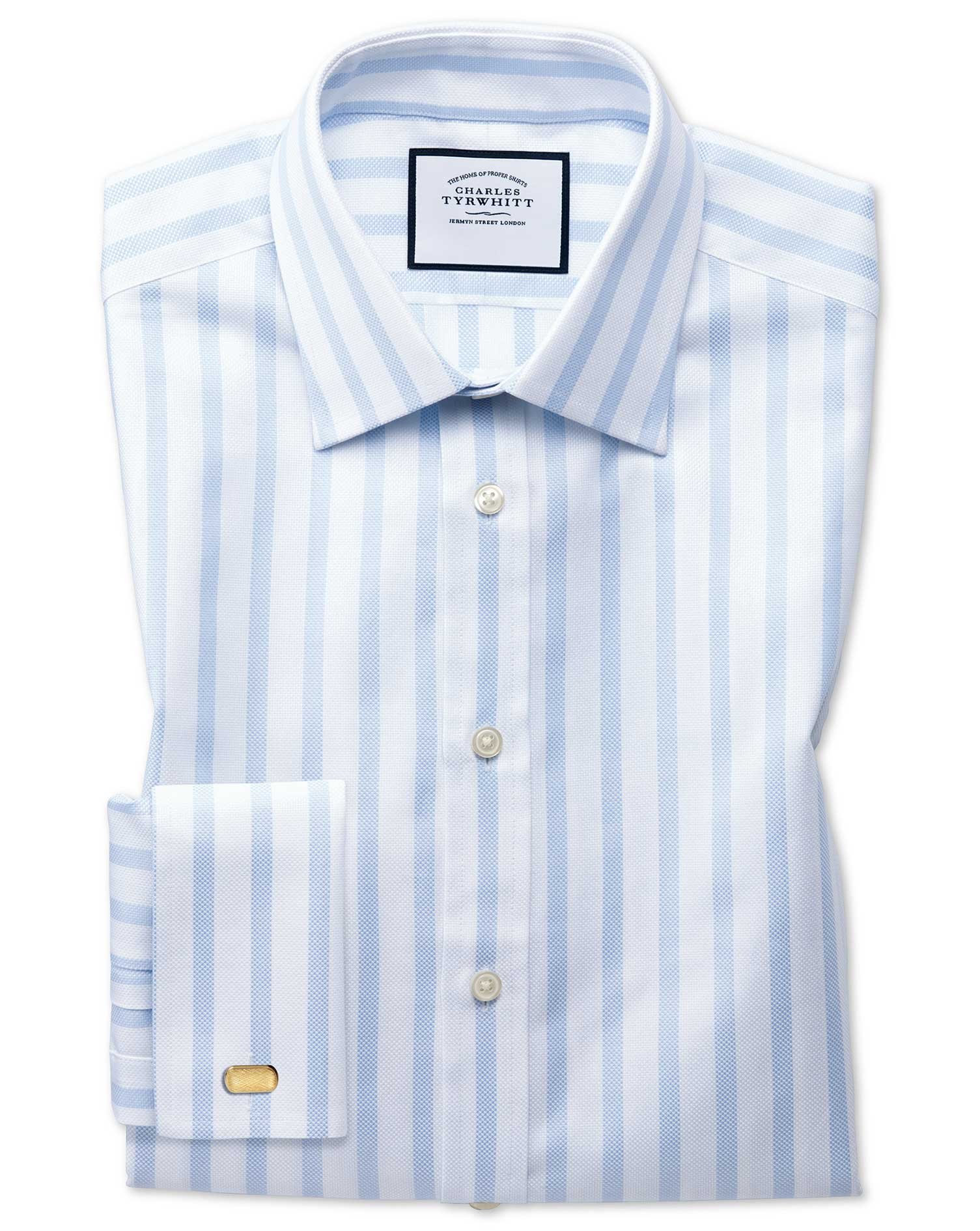 Extra Slim Fit Egyptian Cotton Royal Oxford Sky Blue Stripe Formal Shirt Double Cuff Size 14.5/33 by