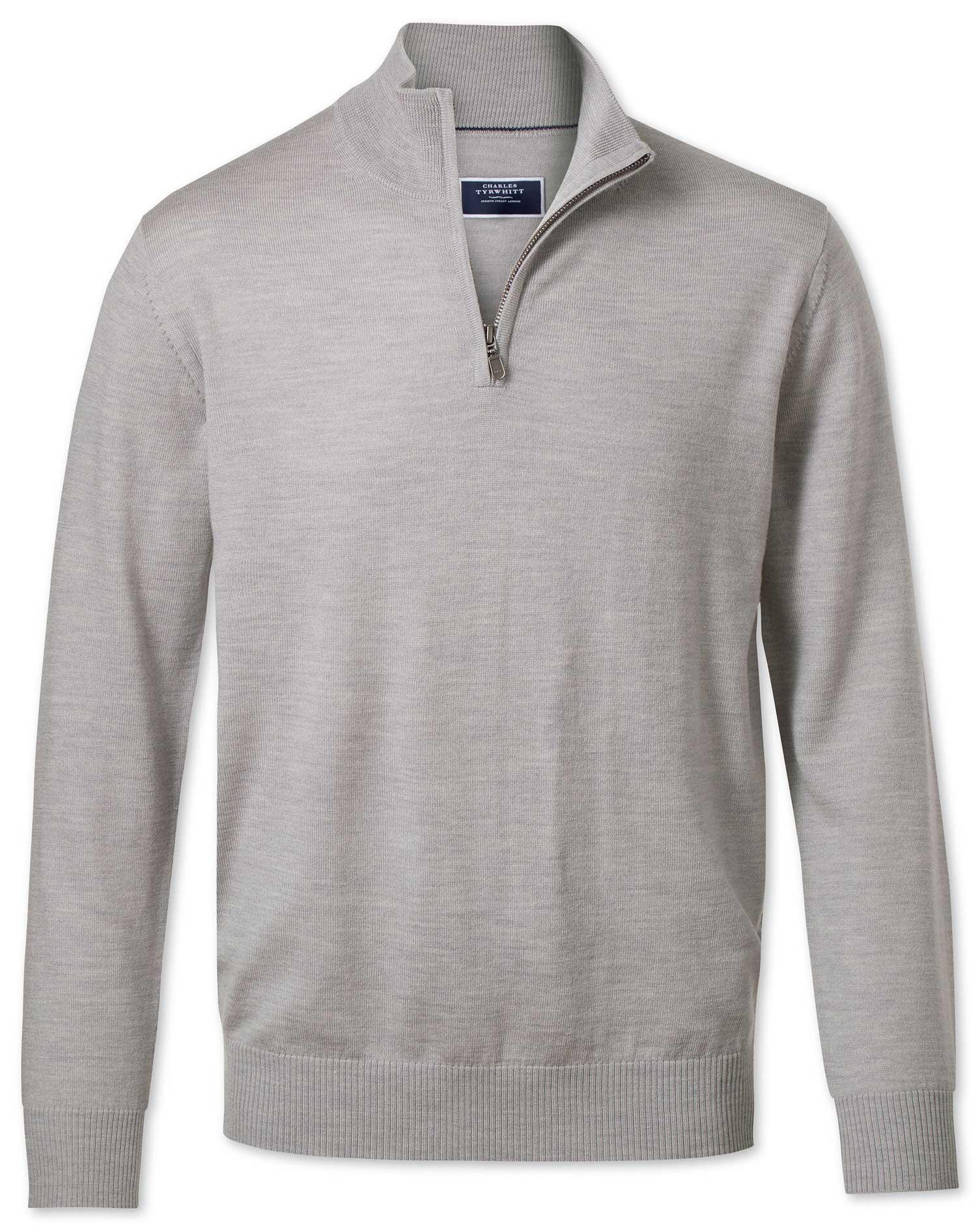 Silver Zip Neck Merino Wool Jumper Size XL by Charles Tyrwhitt