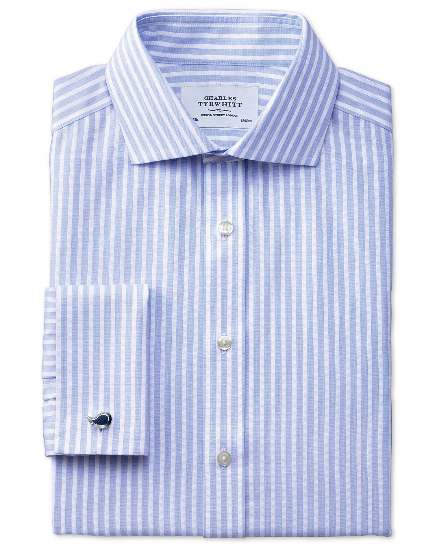 Slim Fit Cutaway Collar Non-Iron Stripe White and Sky Blue Cotton Formal Shirt Single Cuff Size 14.5