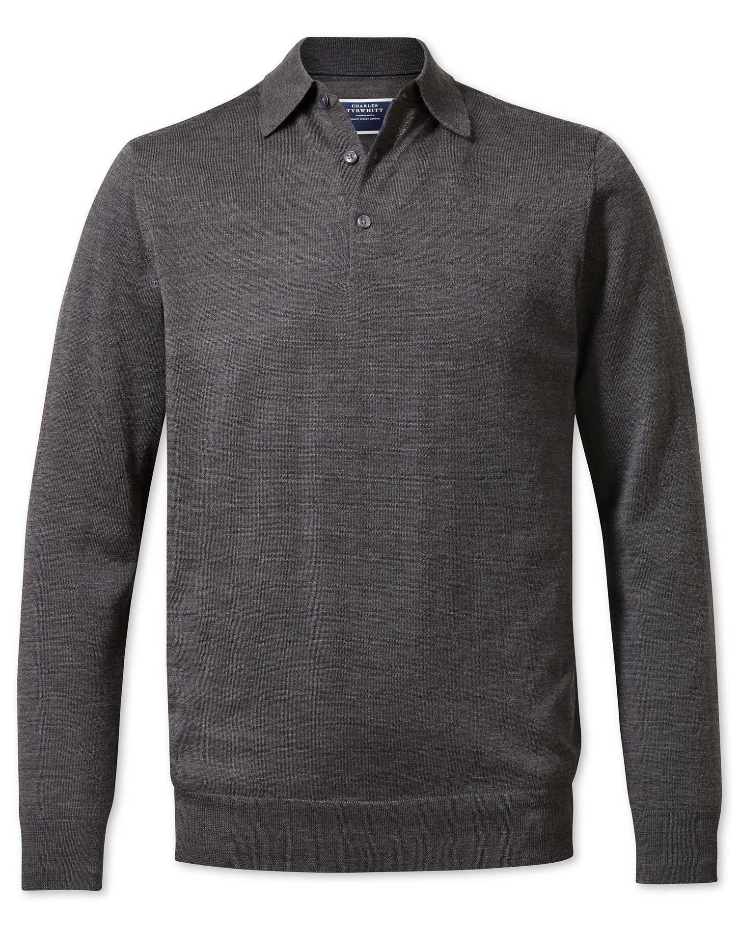 Charcoal Wool Polo Collar Merino Wool Jumper Size XXL by Charles Tyrwhitt