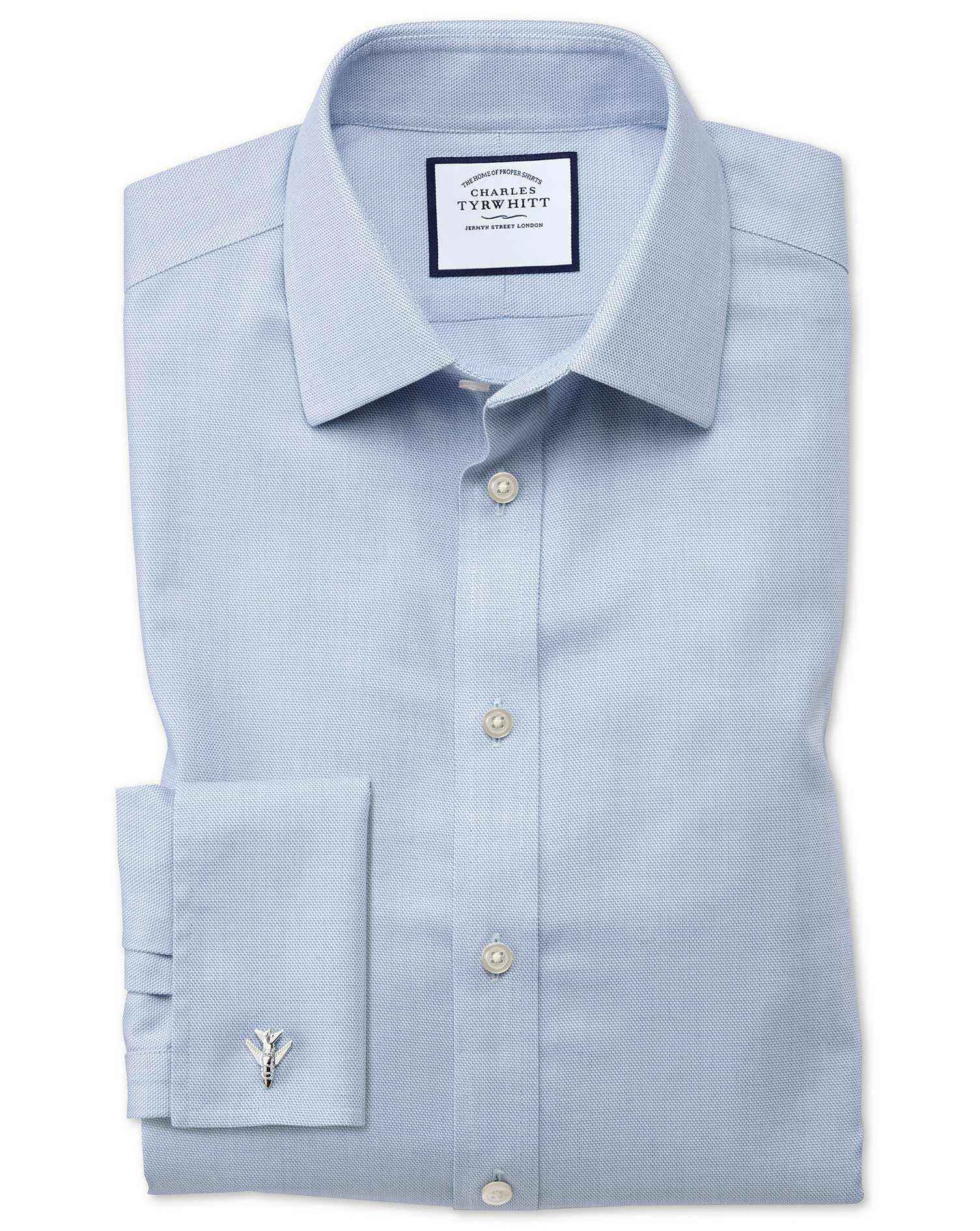 Classic Fit Non-Iron Step Weave Mid Blue Cotton Formal Shirt Double Cuff Size 19/38 by Charles Tyrwh