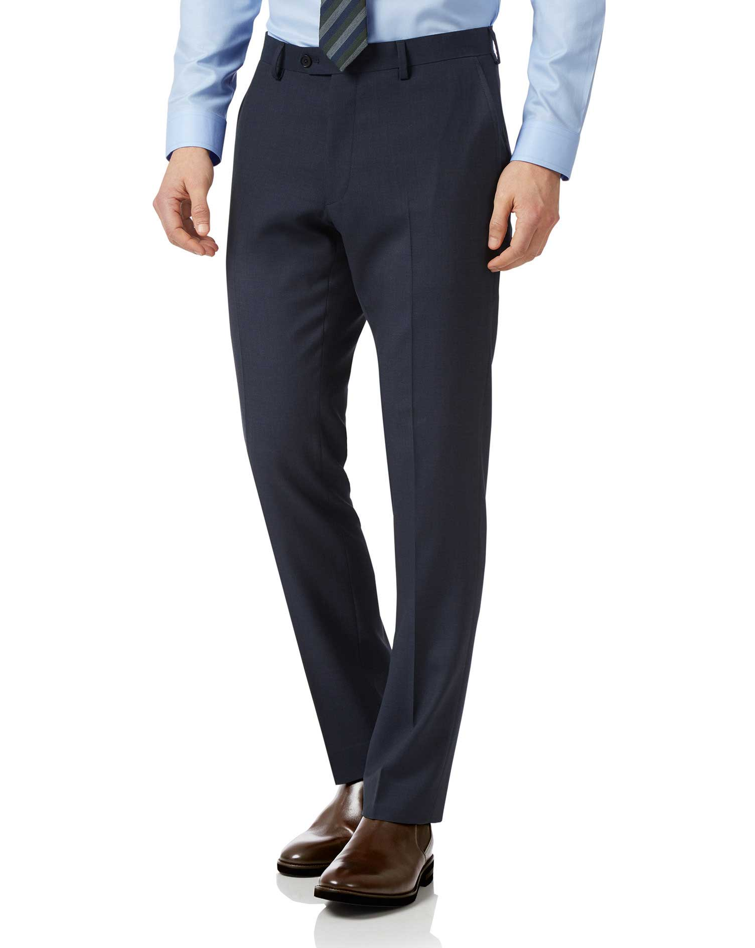 Navy Slim Fit Sharkskin Travel Suit Trousers Size W34 L34 by Charles Tyrwhitt