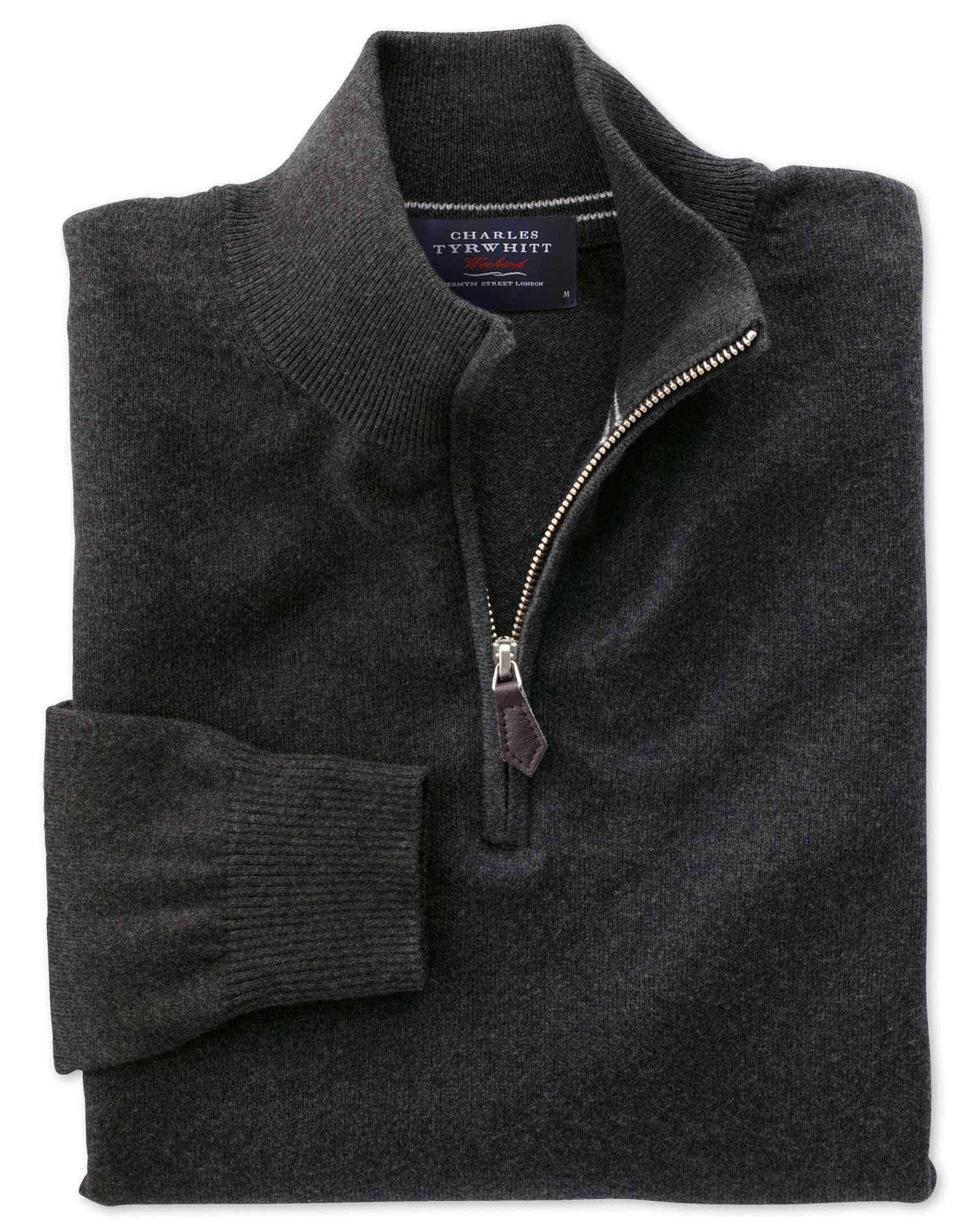 Charcoal Cotton Cashmere Zip Neck Jumper Size XS by Charles Tyrwhitt