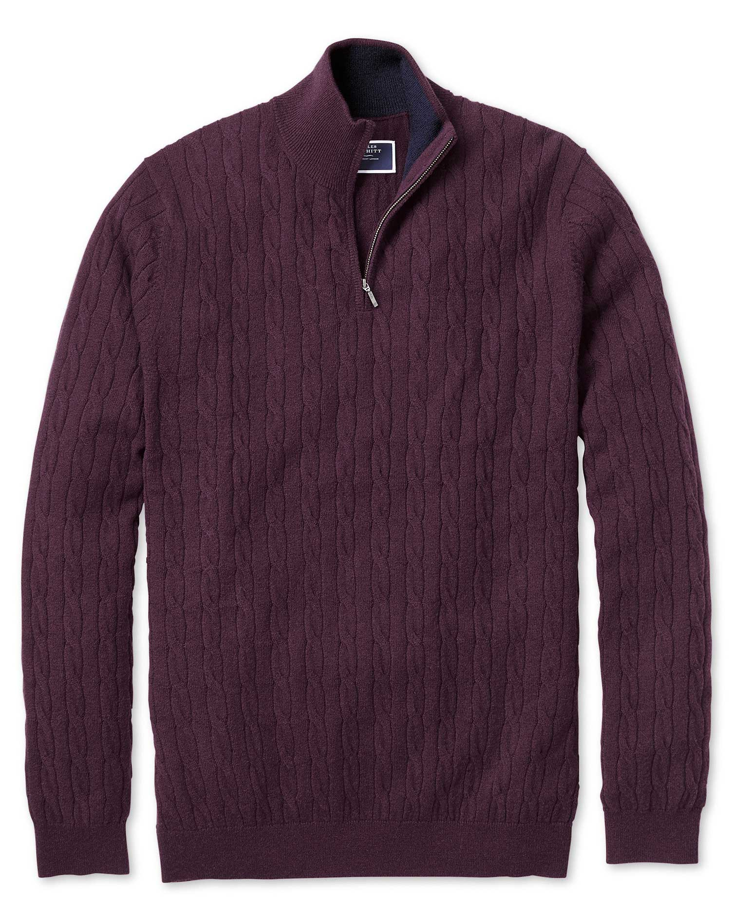 Wine Zip Neck Lambswool Cable Knit Jumper Size Small by Charles Tyrwhitt