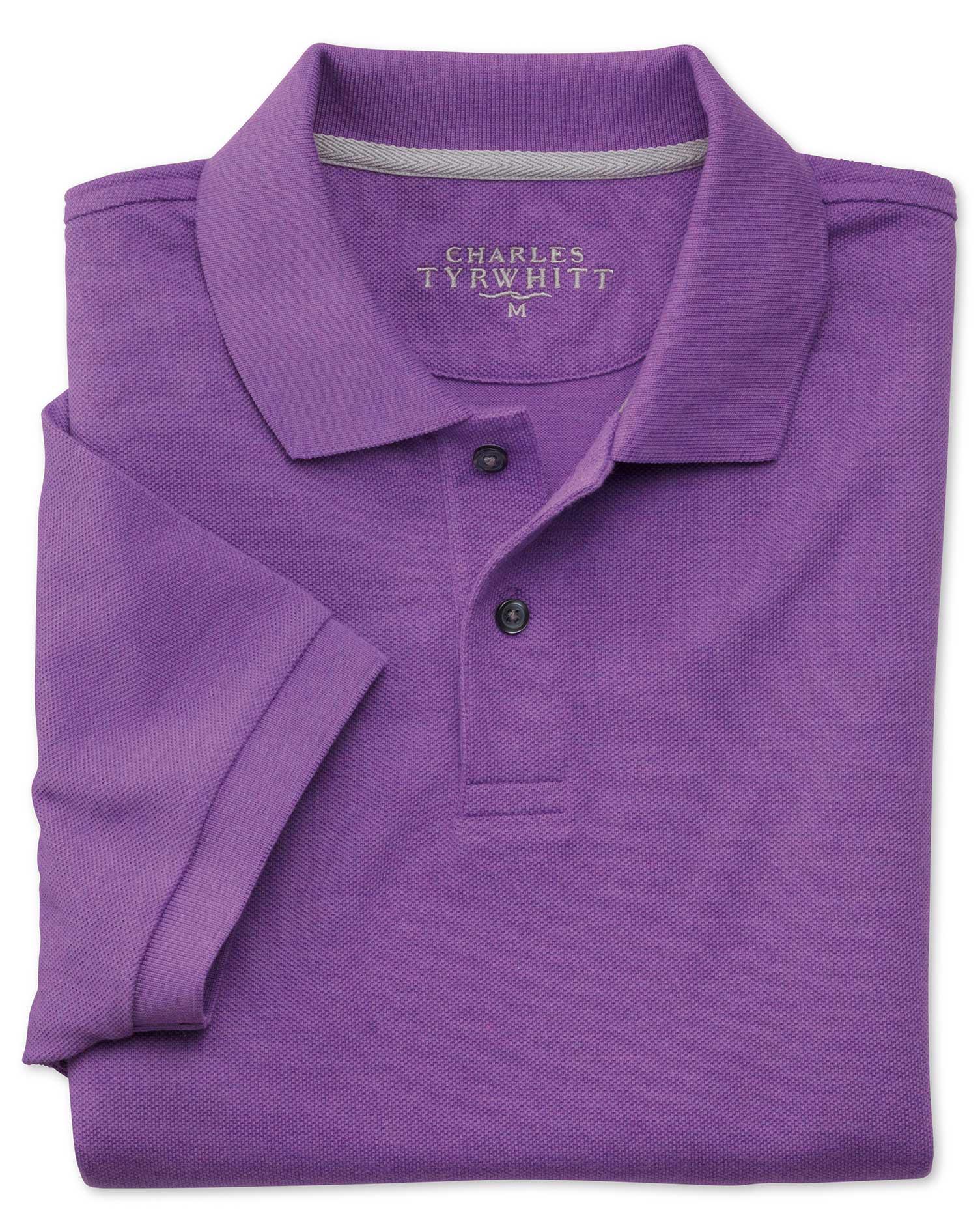 Purple Melange Pique Cotton Polo Size XS by Charles Tyrwhitt