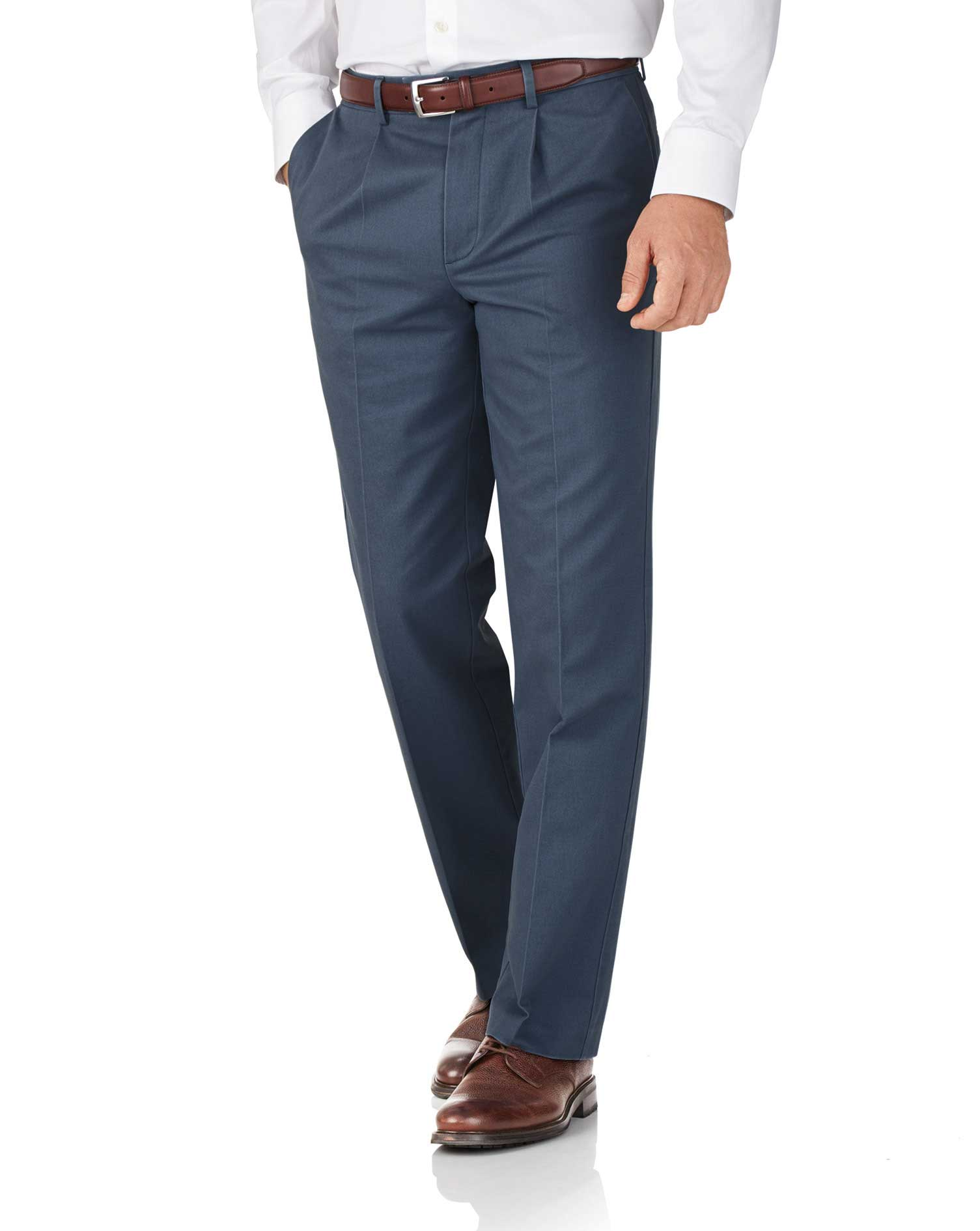 Airforce Blue Classic Fit Single Pleat Non-Iron Cotton Chino Trousers Size W42 L32 by Charles Tyrwhi