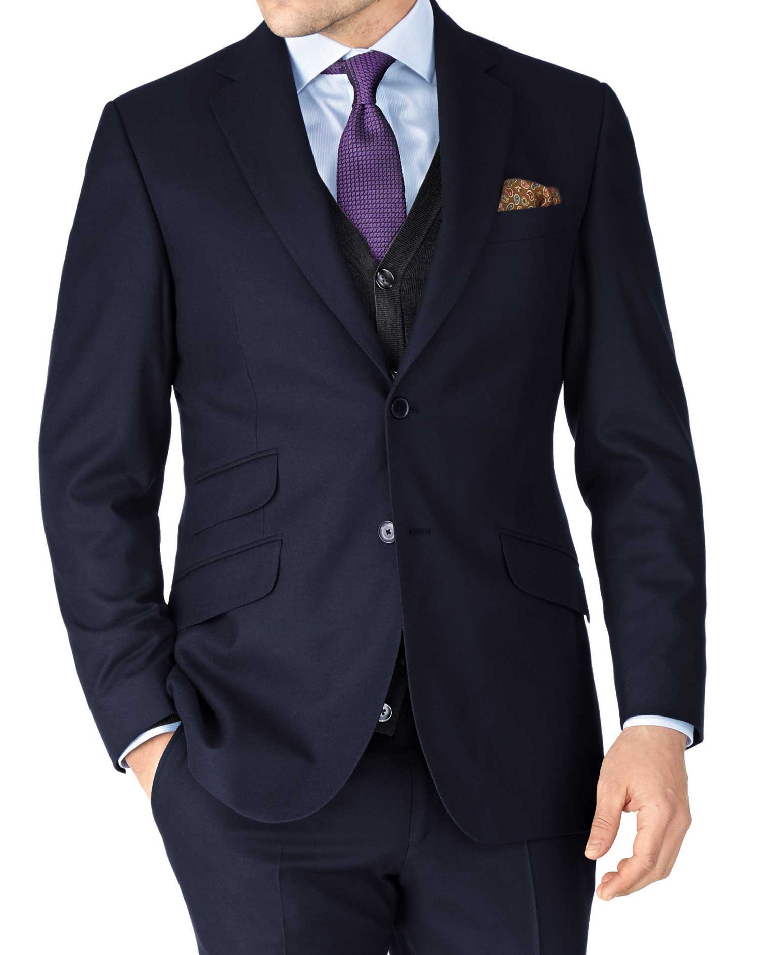 Navy Slim Fit British Serge Luxury Suit Wool Jacket Size 40 Long by Charles Tyrwhitt