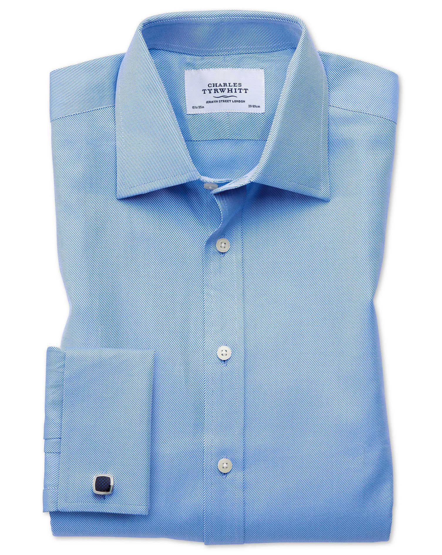 Classic Fit Egyptian Cotton Cavalry Twill Blue Formal Shirt Single Cuff Size 17/35 by Charles Tyrwhi