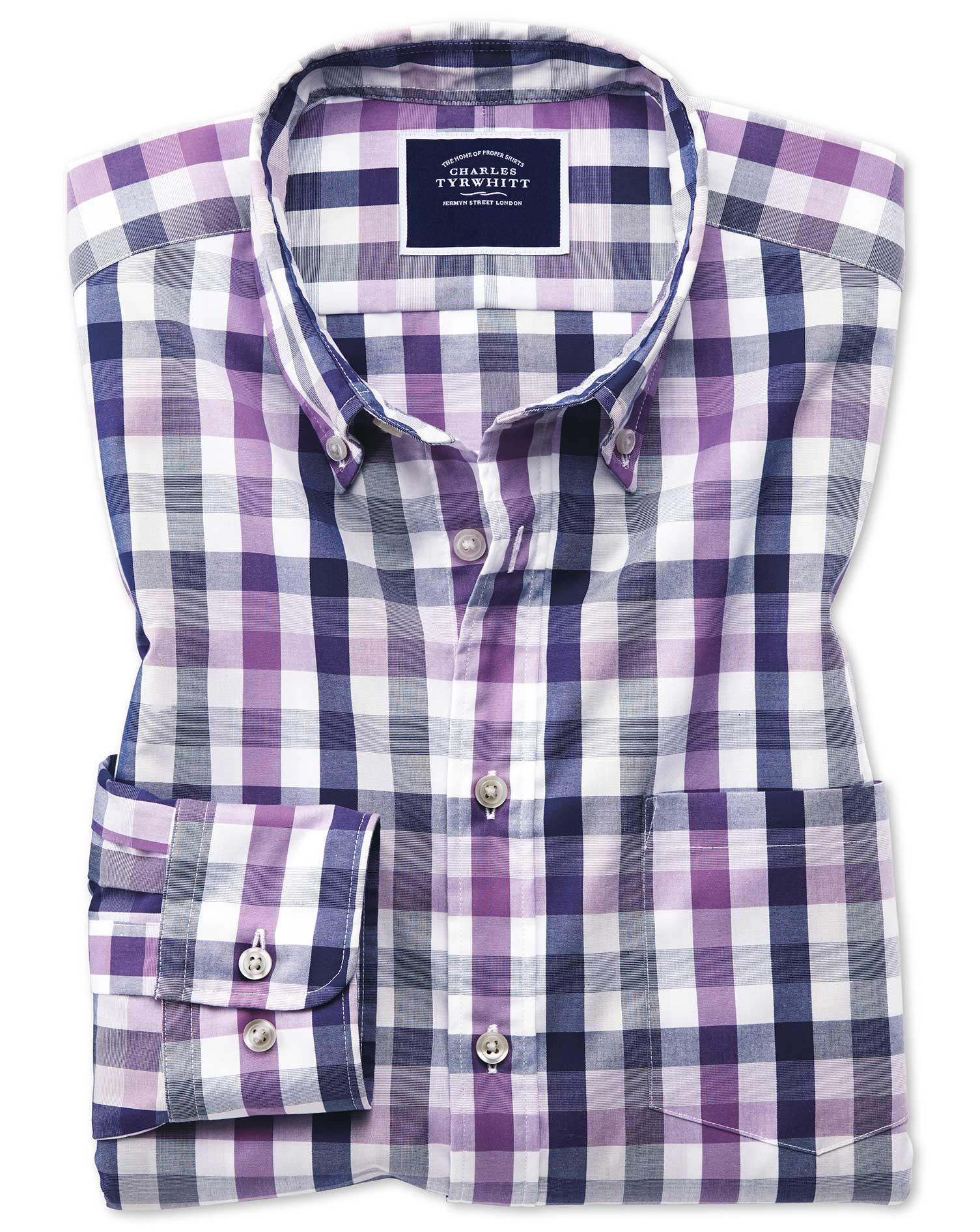 Classic Fit Purple Multi Check Soft Washed Non-Iron Tyrwhitt Cool Cotton Shirt Single Cuff Size Smal