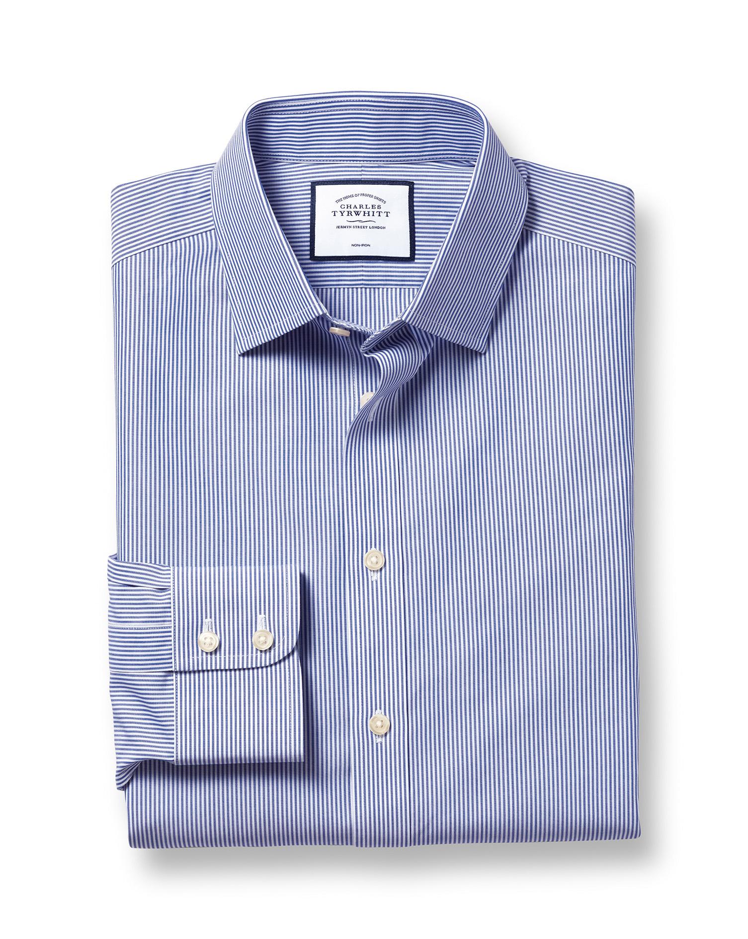 Slim fit non iron bengal stripe navy shirt charles tyrwhitt for Slim fit non iron shirts