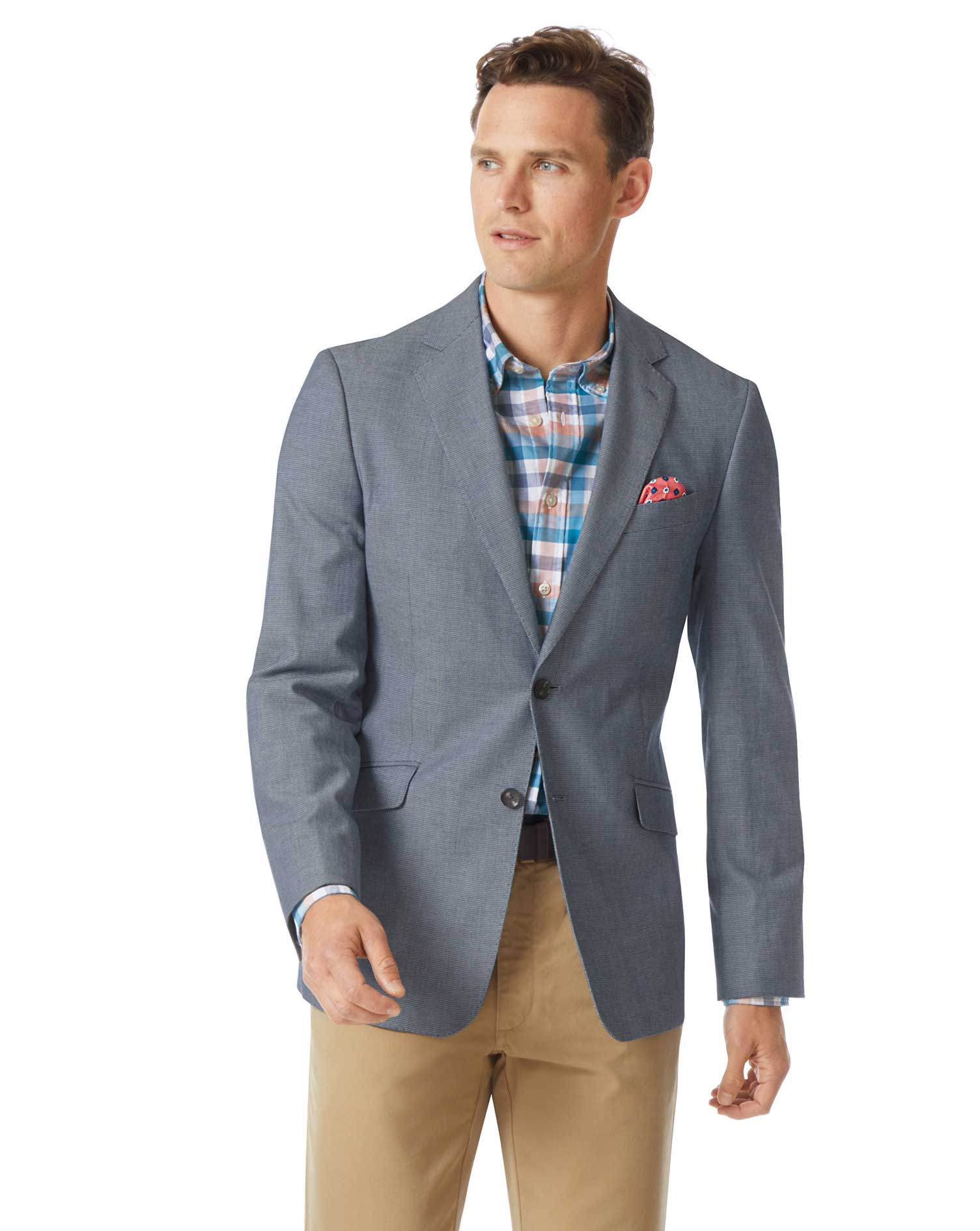 Slim Fit Light Blue Textured Stretch Cotton Jacket Size 40 Long by Charles Tyrwhitt