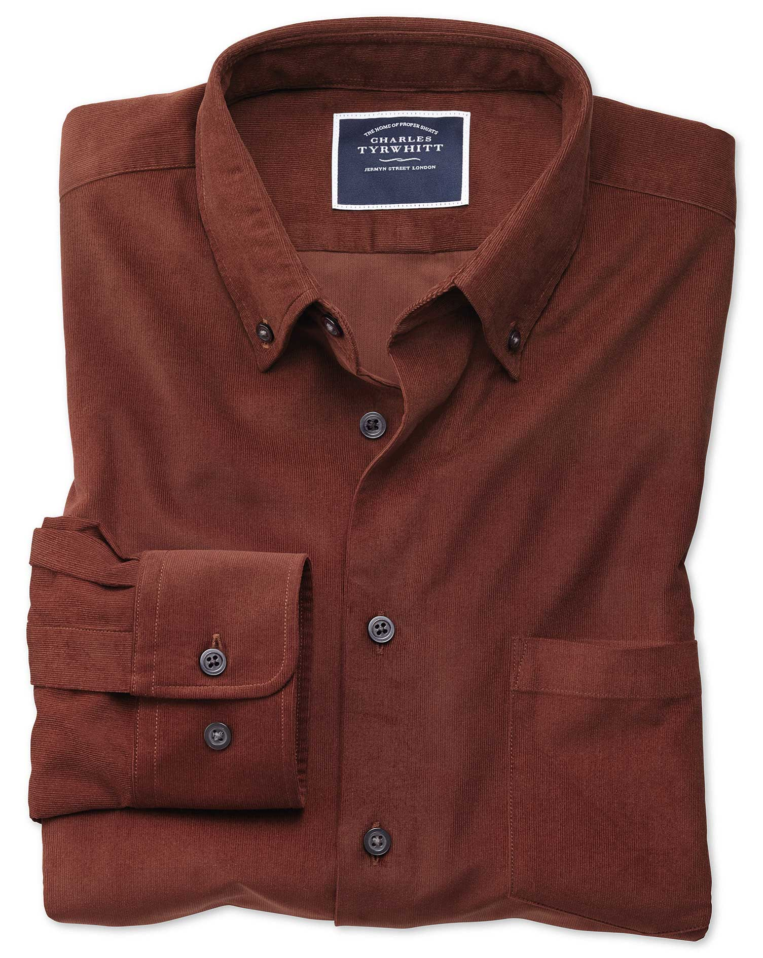 Slim Fit Plain Rust Fine Corduroy Cotton Shirt Single Cuff Size Small by Charles Tyrwhitt