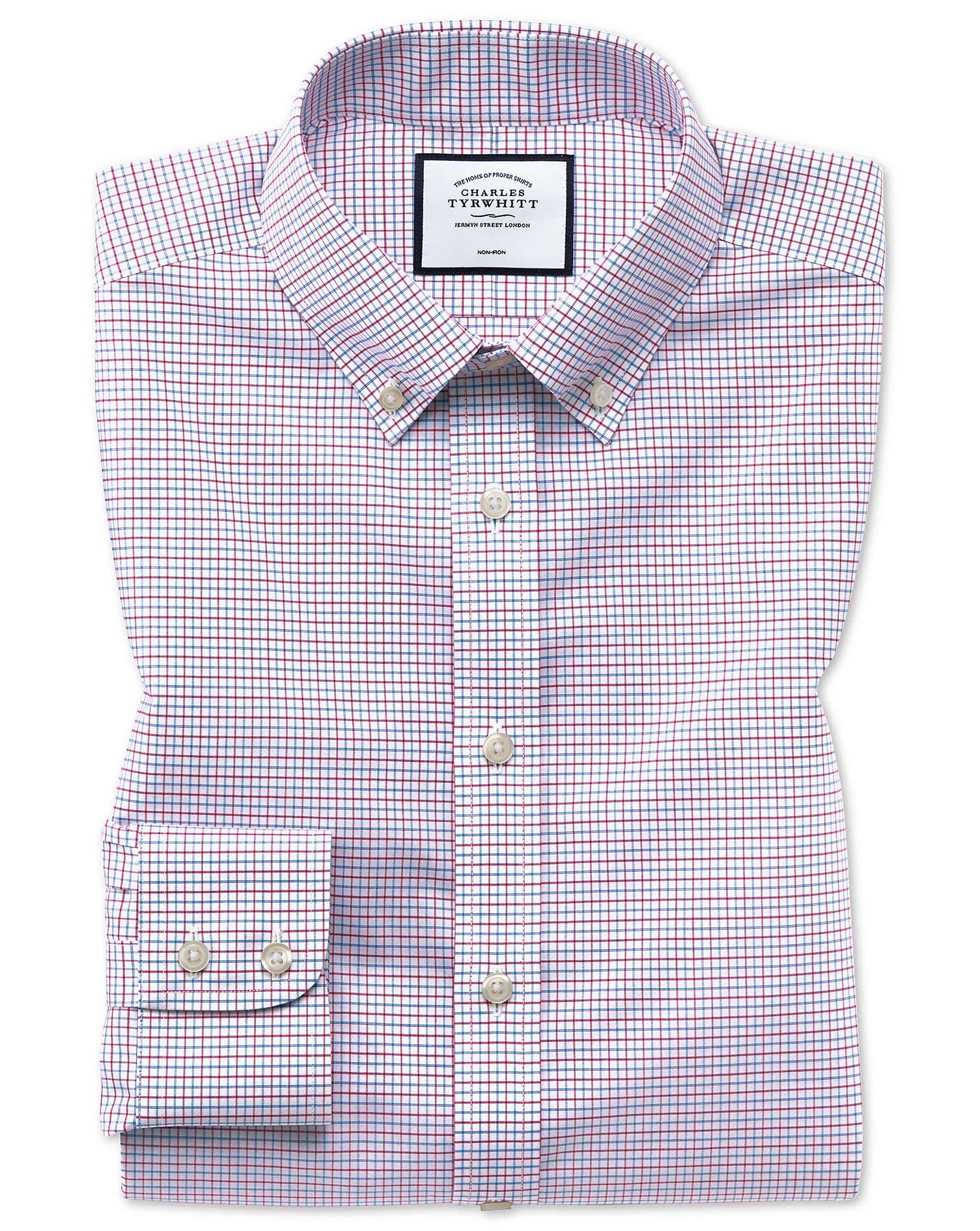 Slim Fit Non-Iron Button-Down Red and Blue Check Cotton Formal Shirt Single Cuff Size 16.5/35 by Cha