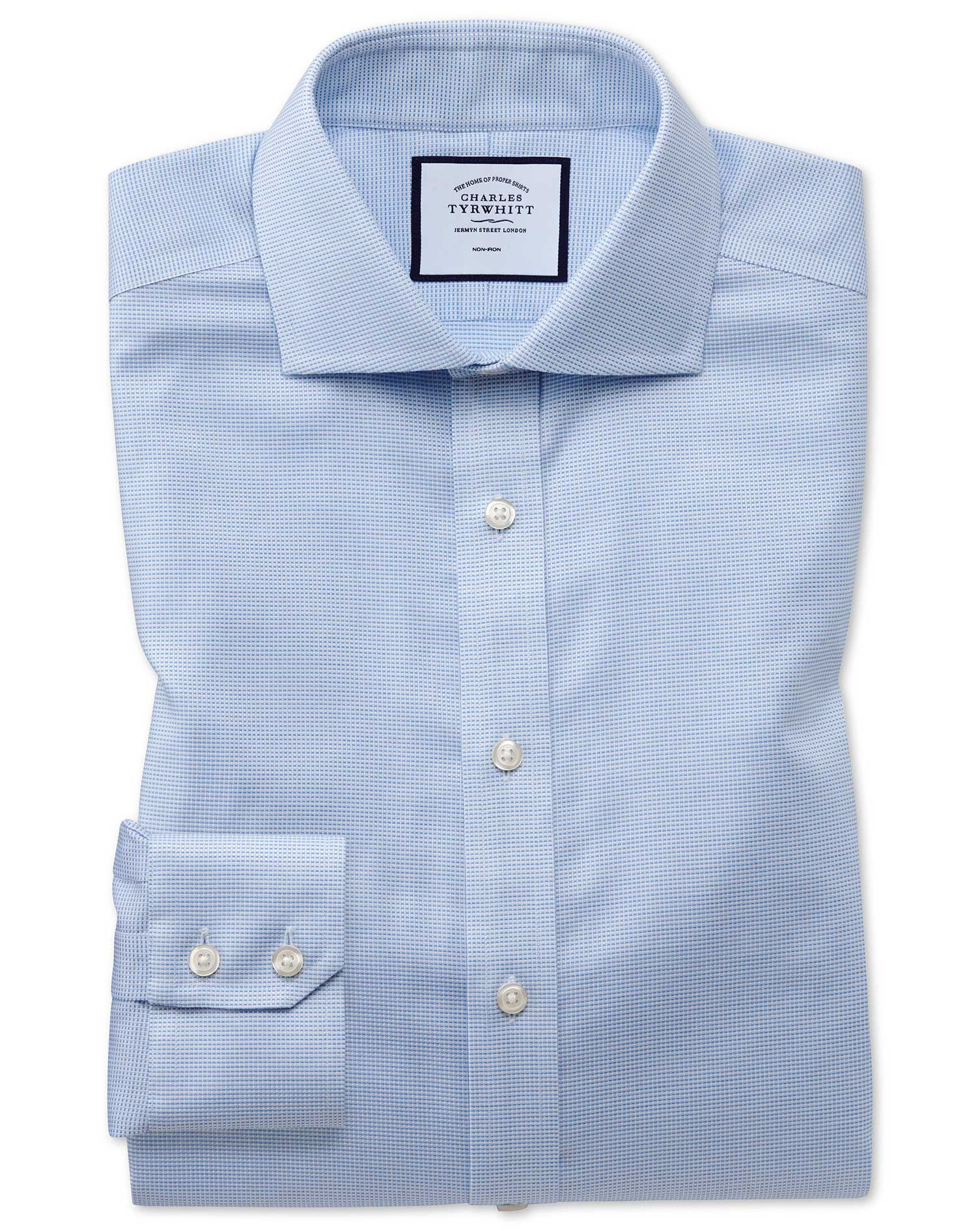 Slim Fit Non-Iron Cotton Stretch Oxford Sky Blue Formal Shirt Single Cuff Size 15.5/33 by Charles Ty