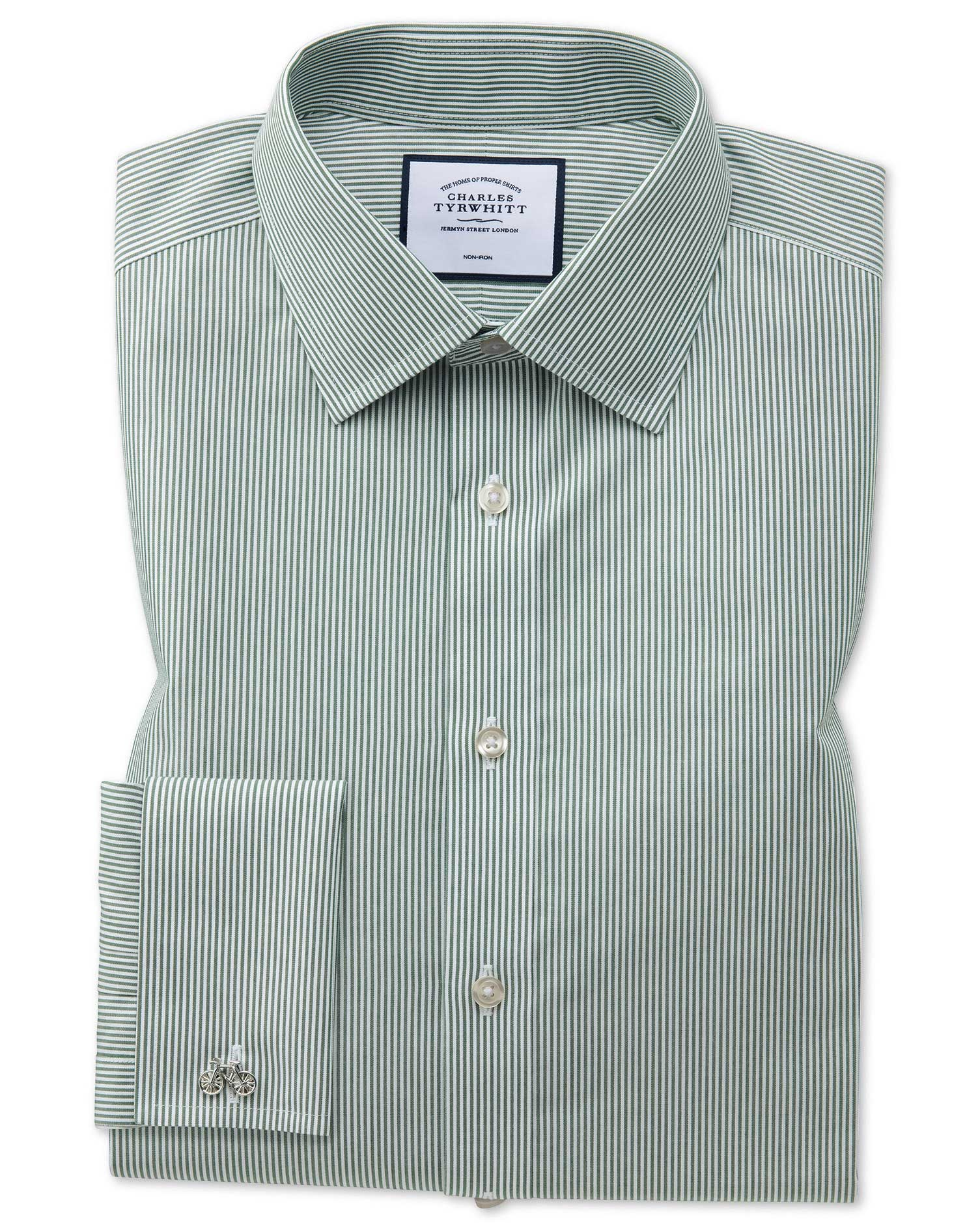 Classic Fit Non-Iron Olive Bengal Stripe Cotton Formal Shirt Single Cuff Size 16/38 by Charles Tyrwh