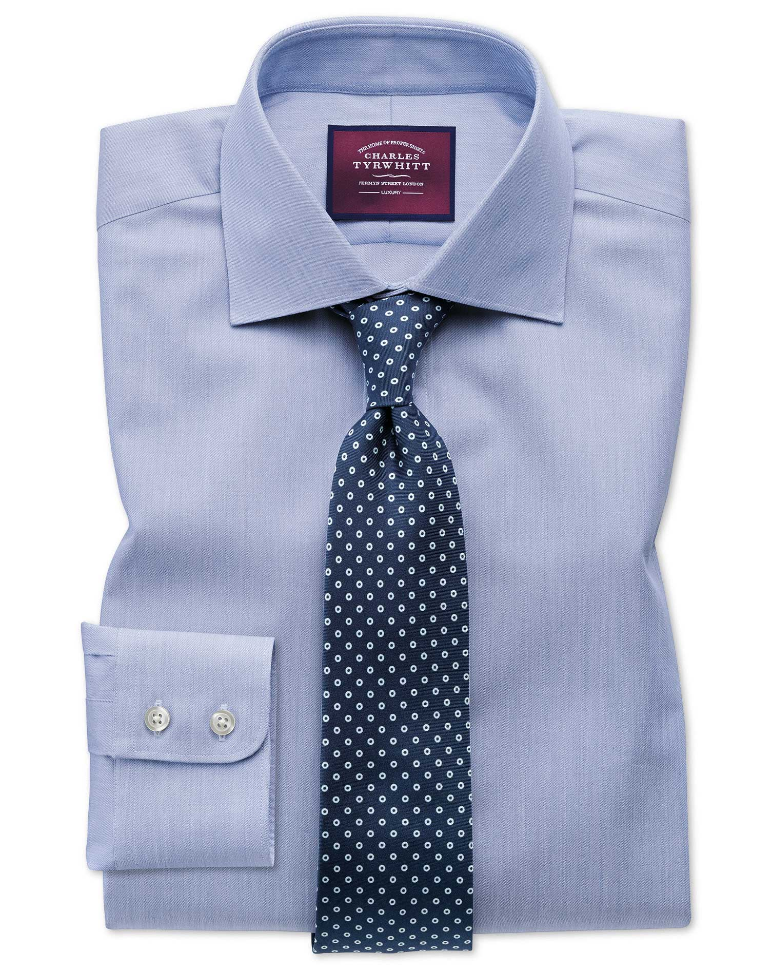 Classic Fit Semi-Cutaway Luxury Cotton Silk Blue Formal Shirt Single Cuff Size 15.5/35 by Charles Ty