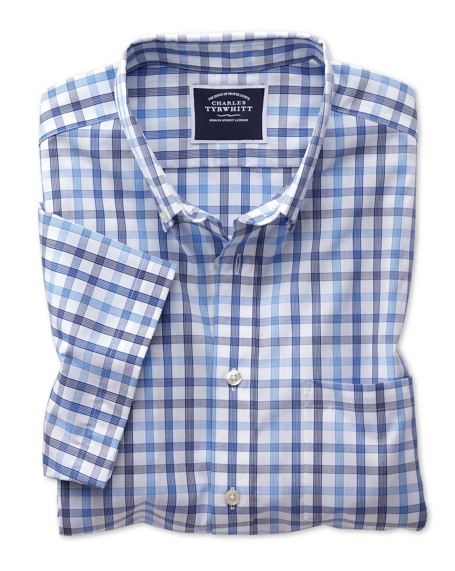 Slim Fit Non-Iron Blue Large Check Short Sleeve Cotton Shirt Single Cuff Size XL by Charles Tyrwhitt