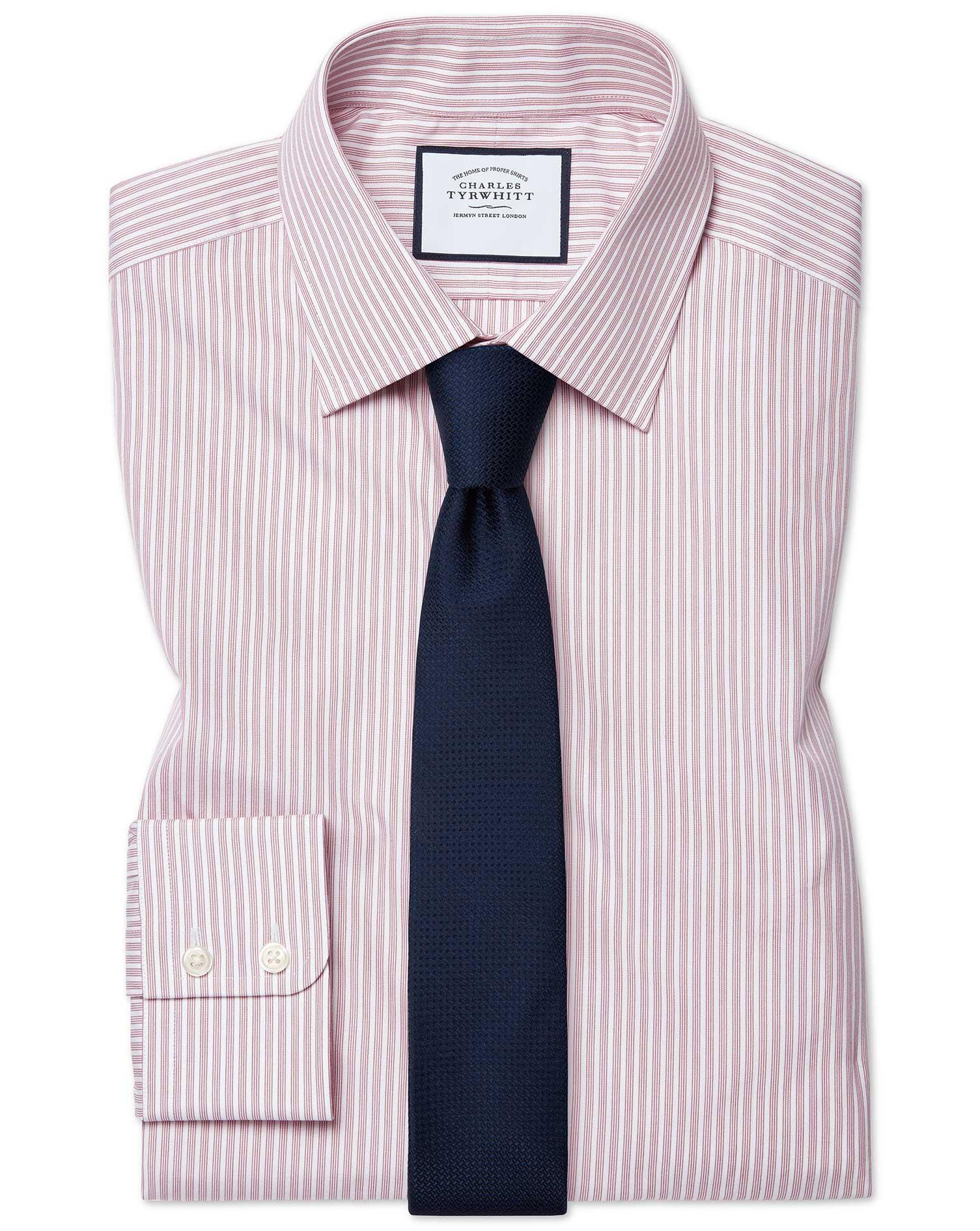 Cotton Extra Slim Fit Poplin Fine Stripe Pink Shirt