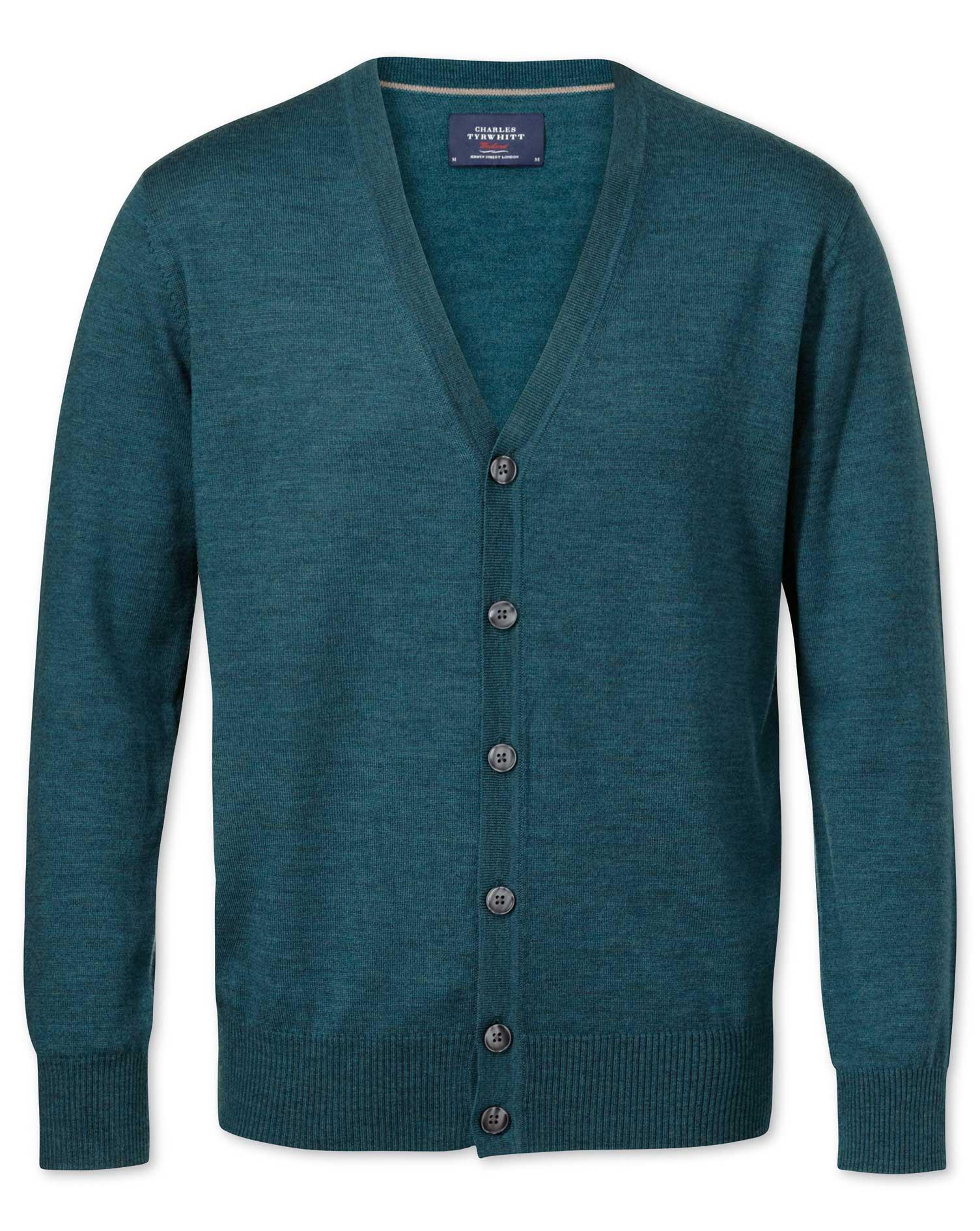 Green Merino Wool Cardigan Size Large by Charles Tyrwhitt