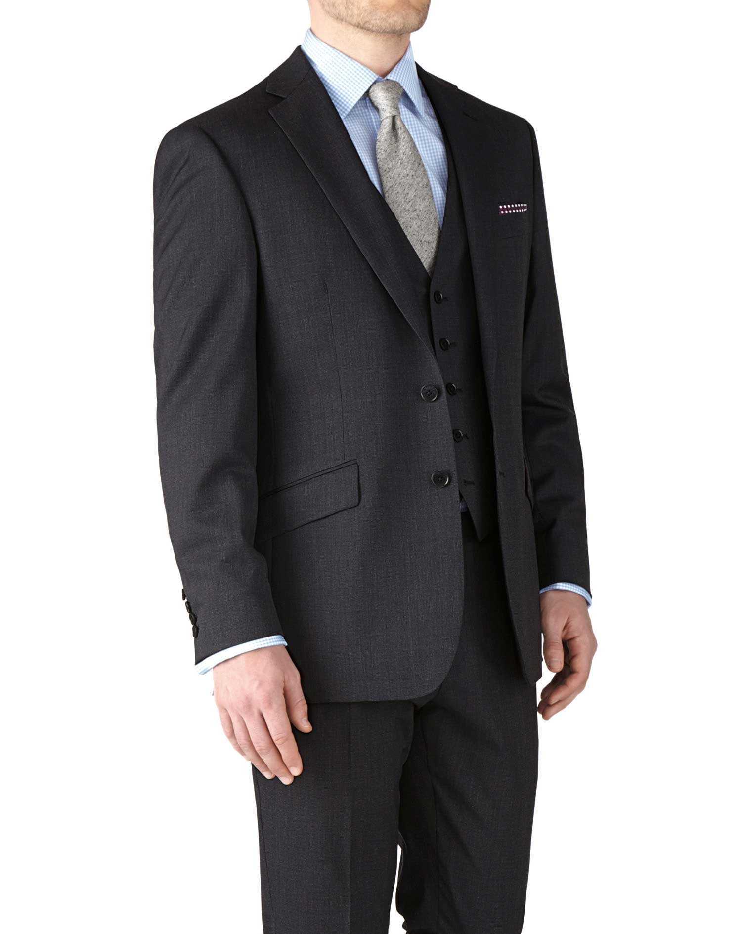 Charcoal Classic Fit End-On-End Business Suit Wool Jacket Size 48 Regular by Charles Tyrwhitt