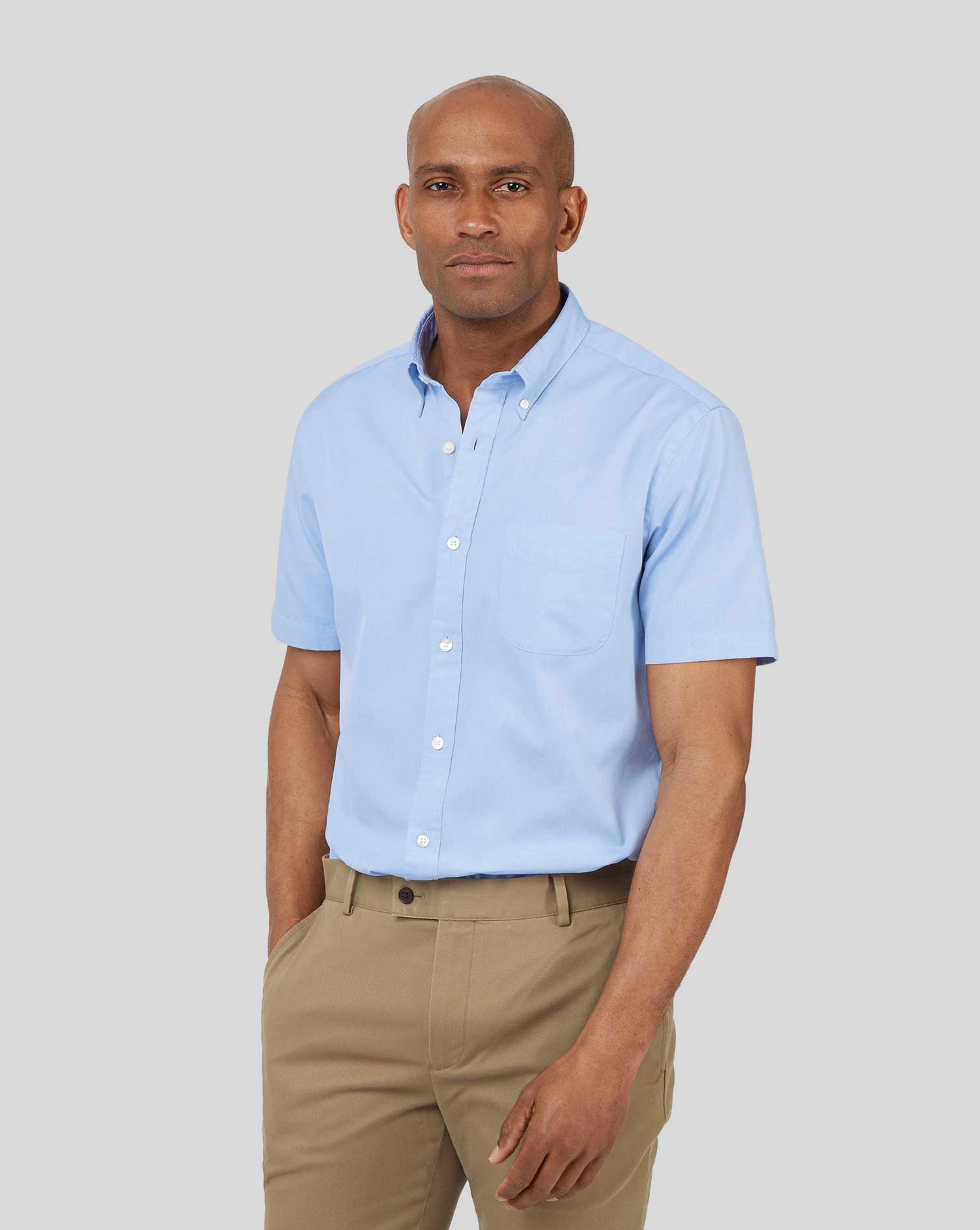Slim Fit Short Sleeve Button-Down Washed Oxford Sky Blue Cotton Shirt Single Cuff Size XXL by Charle