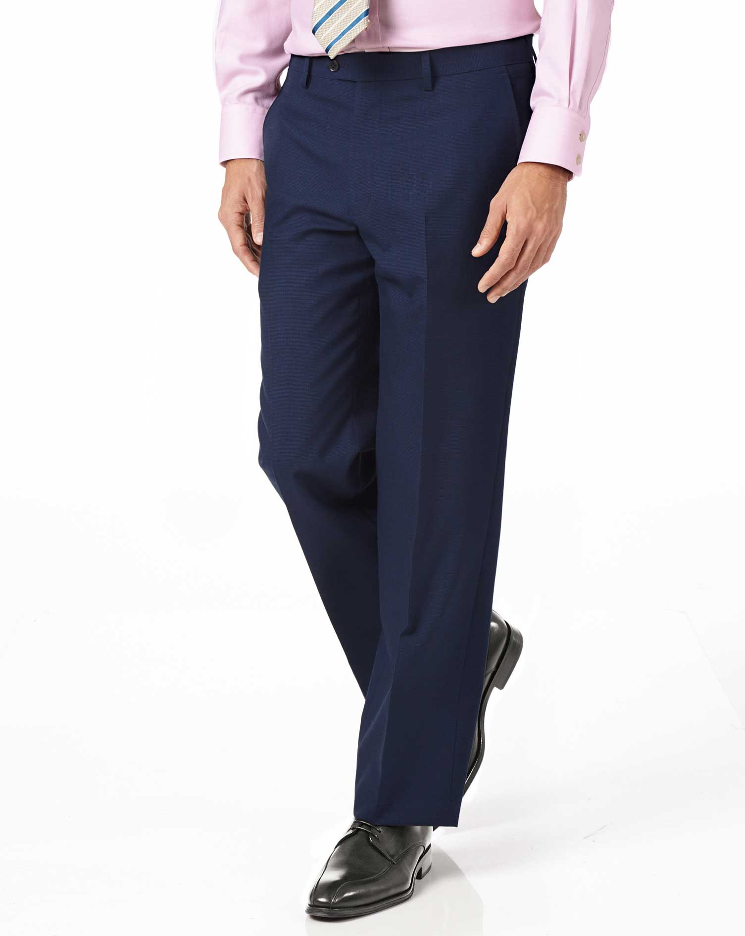 Indigo Blue Classic Fit Panama Puppytooth Business Suit Trousers Size W38 L38 by Charles Tyrwhitt