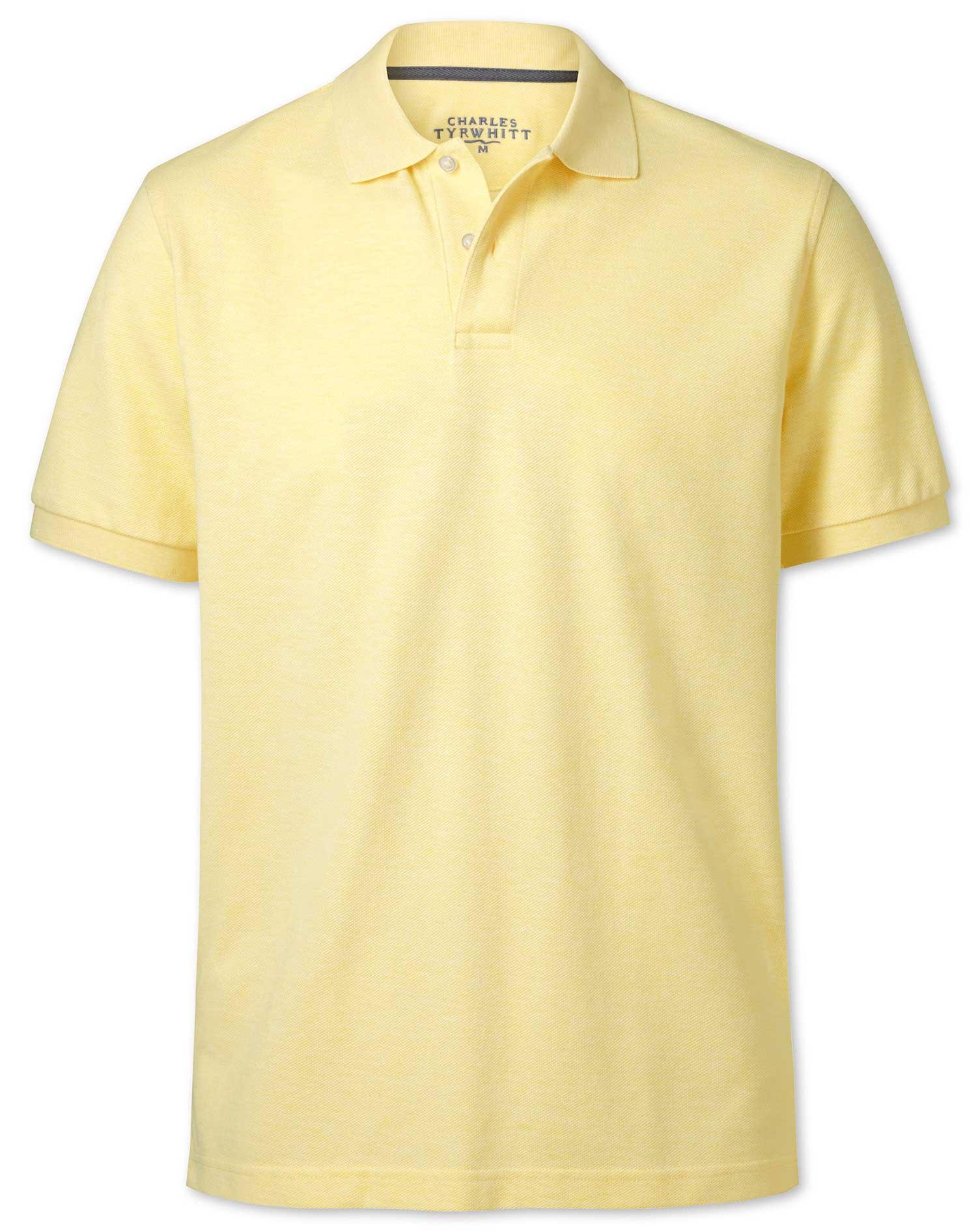 Light Yellow Melange Pique Cotton Polo Size Medium by Charles Tyrwhitt