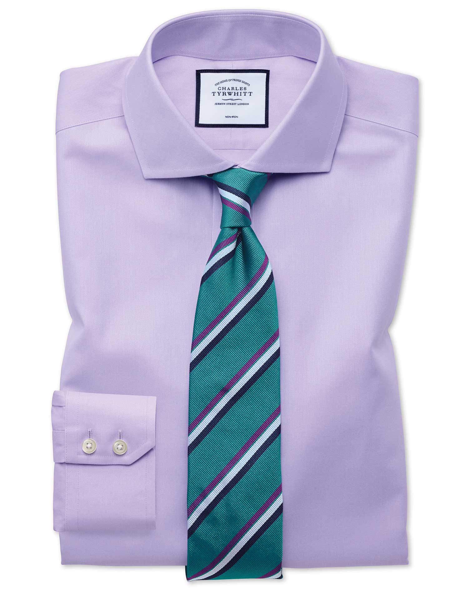 Slim Fit Non-Iron Twill Lilac Cutaway Collar Cotton Formal Shirt Single Cuff Size 16.5/35 by Charles