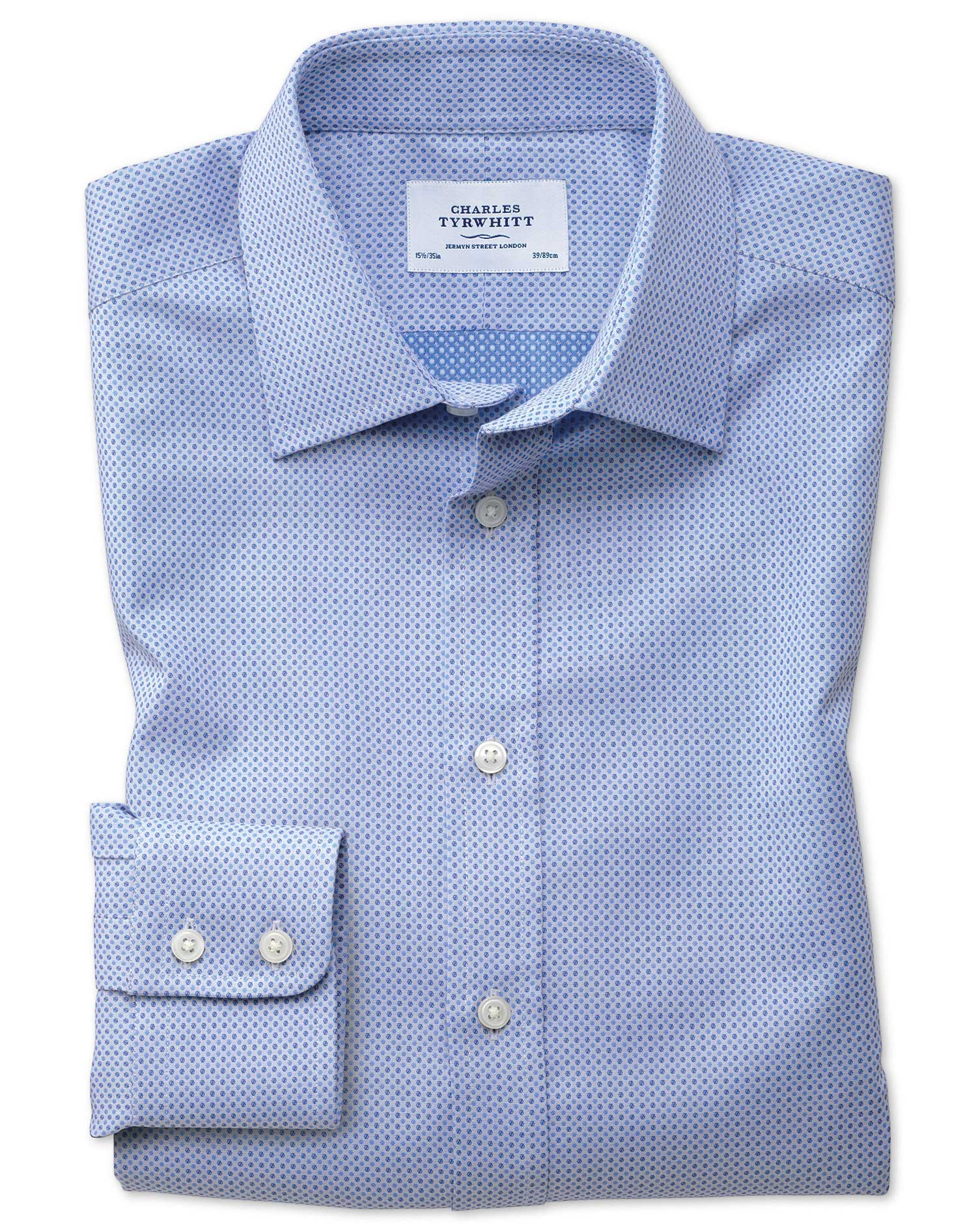 Classic Fit Egyptian Cotton Spot Weave Sky Blue Multi Formal Shirt Single Cuff Size 16.5/33 by Charl