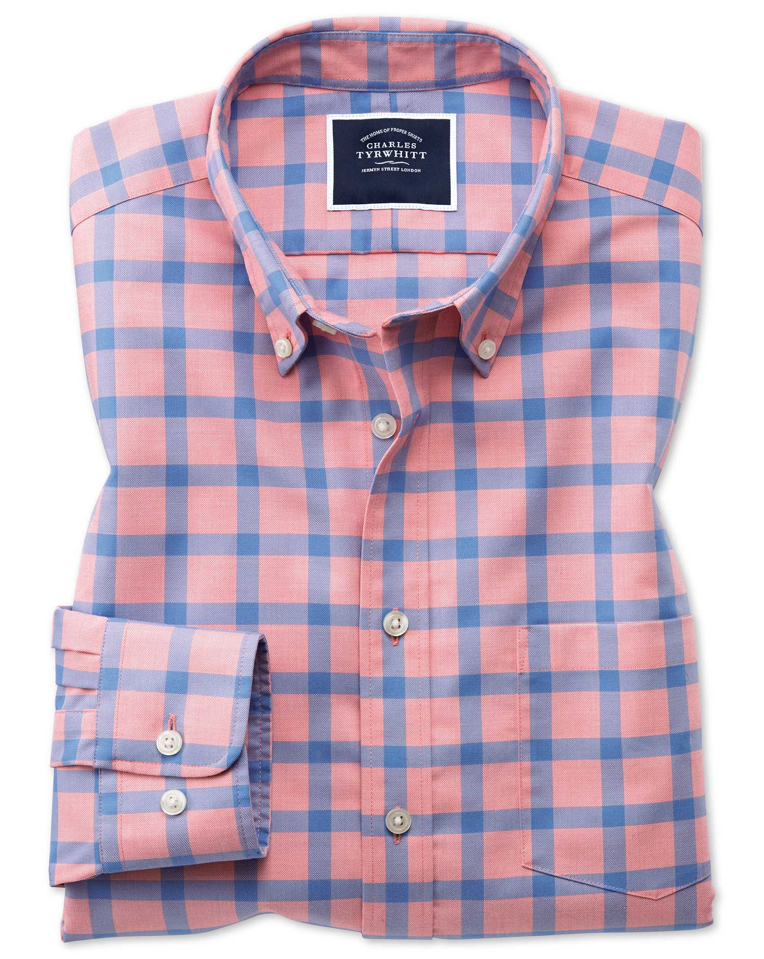 Slim Fit Coral Block Check Soft Washed Non-Iron Twill Cotton Shirt Single Cuff Size Small by Charles