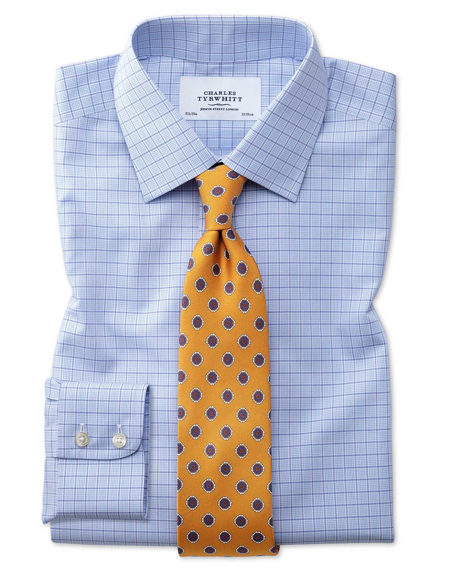 Slim Fit Non-Iron Multi Check Blue Cotton Formal Shirt Single Cuff Size 16/36 by Charles Tyrwhitt