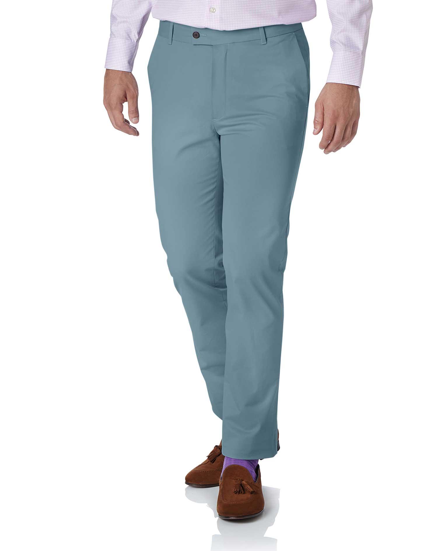 Sky Blue Slim Fit Stretch Cotton Chino Pants Size W102 L86 by Charles Tyrwhitt