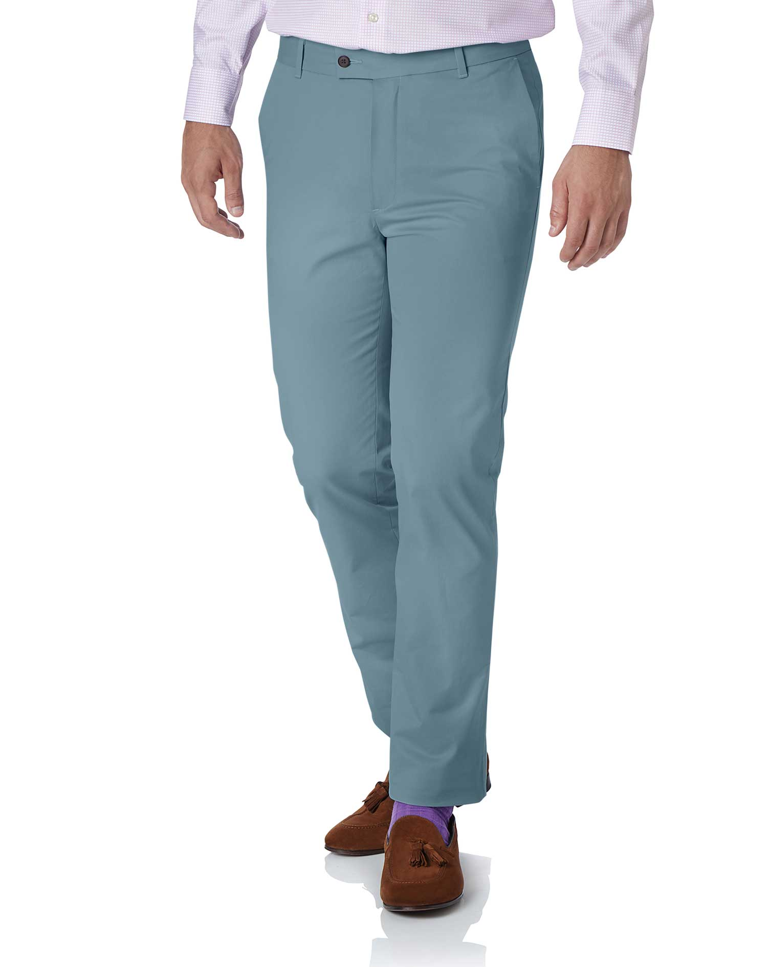 Sky Blue Slim Fit Stretch Cotton Chino Trousers Size W38 L30 by Charles Tyrwhitt