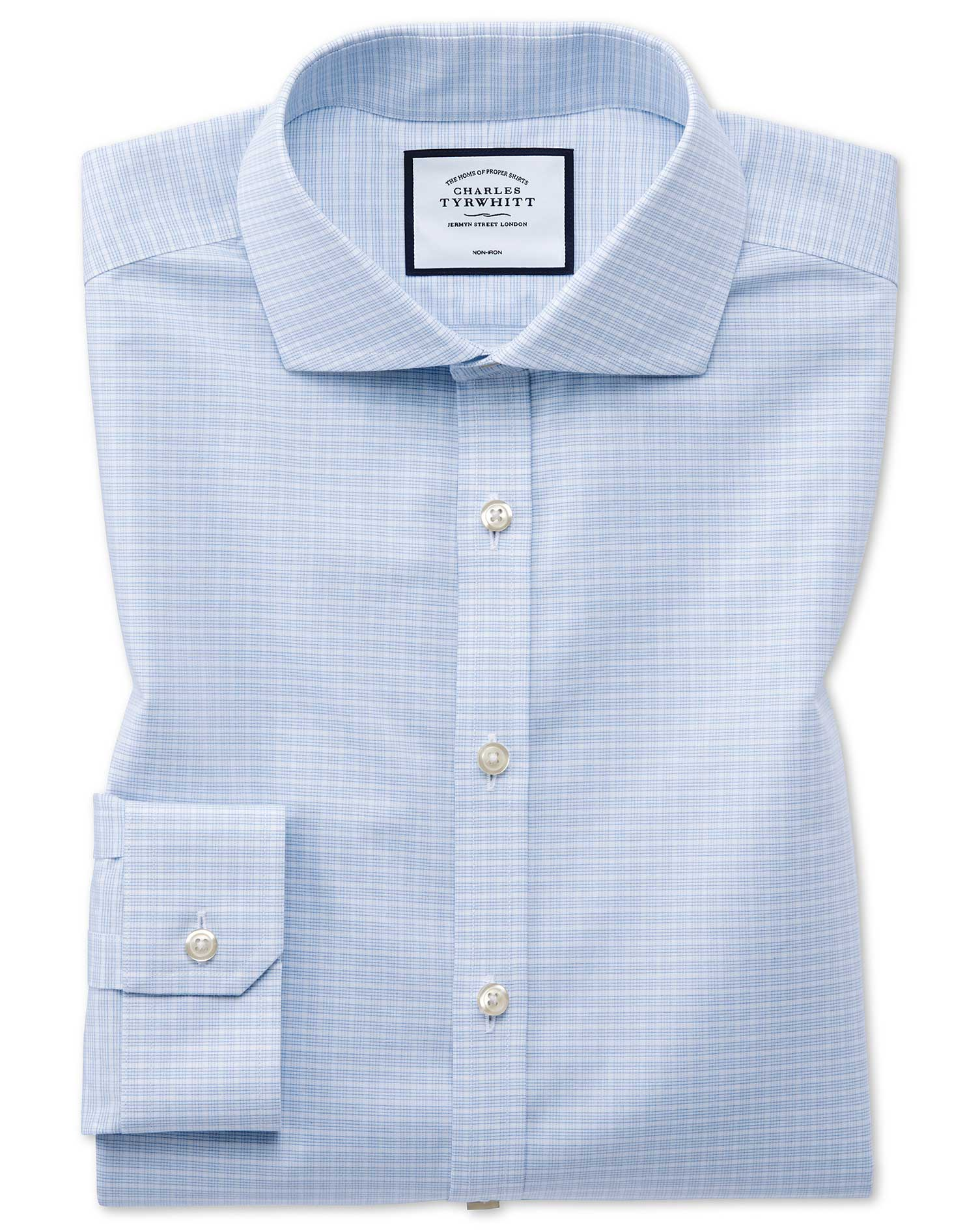 Super Slim Fit Non-Iron 4-Way Stretch Sky Blue Check Cotton Formal Shirt Single Cuff Size 15.5/34 by