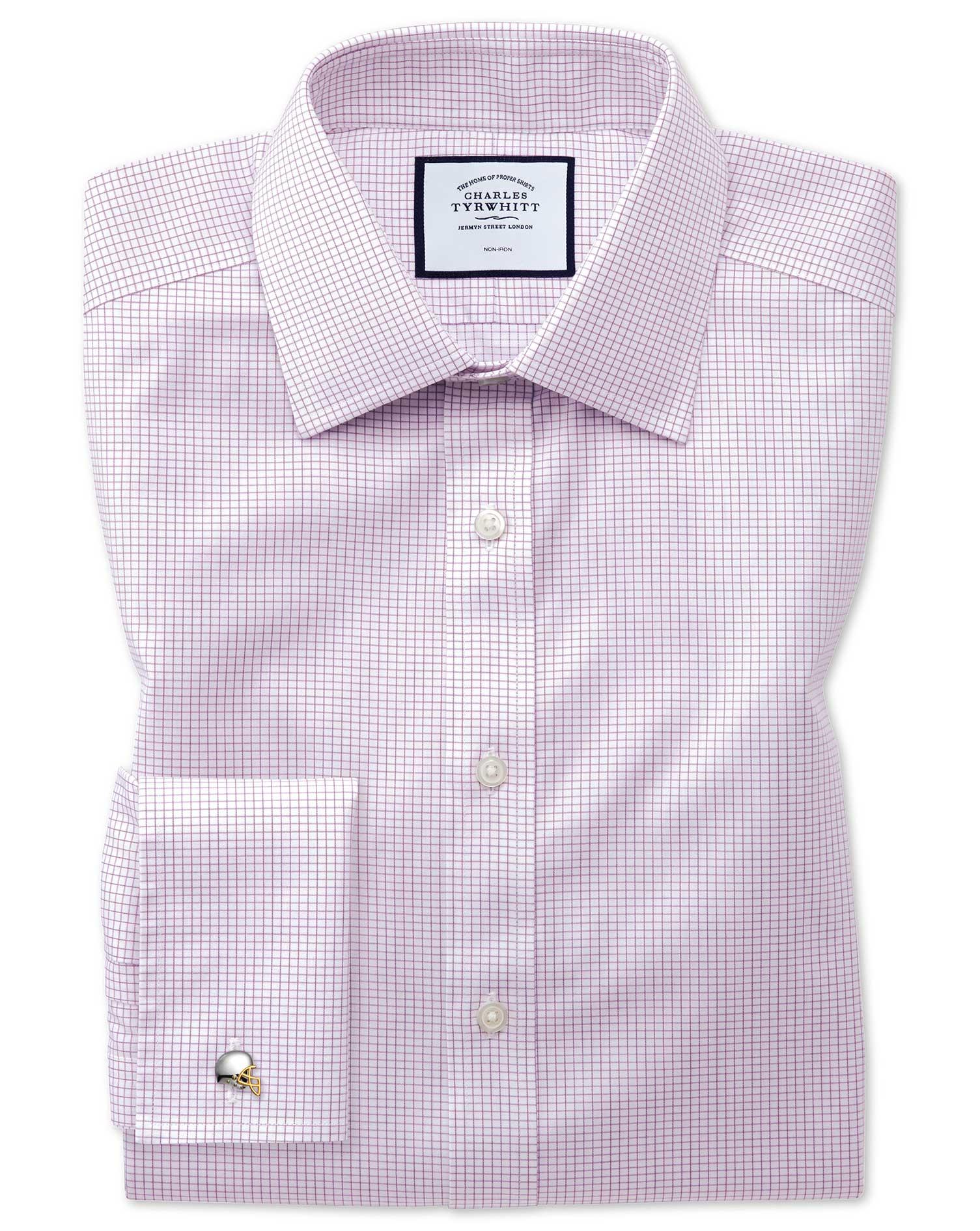 Classic Fit Non-Iron Twill Mini Grid Check Purple Cotton Formal Shirt Double Cuff Size 16/36 by Char